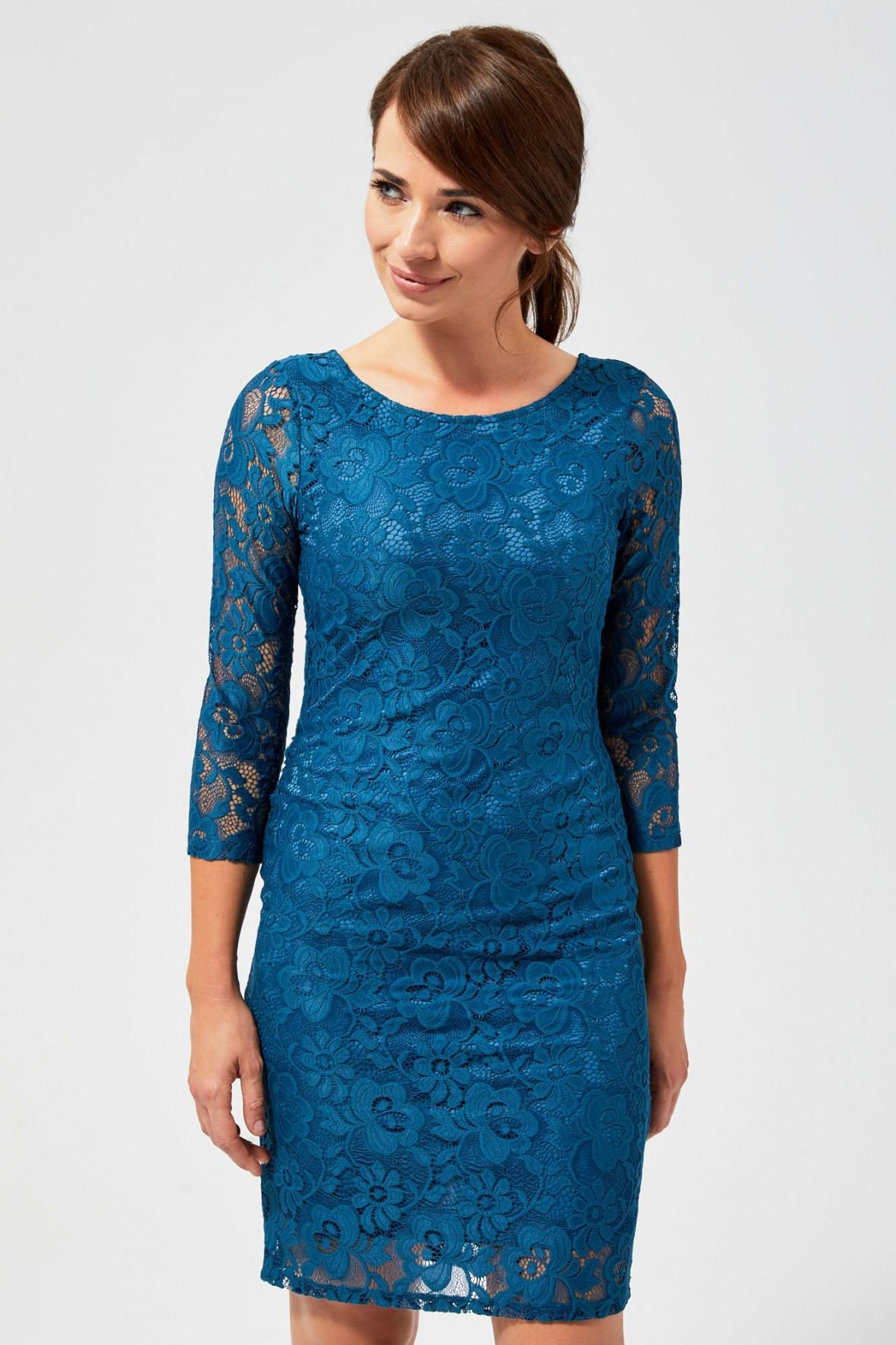 Koronkowa sukienka damska- turkusowa