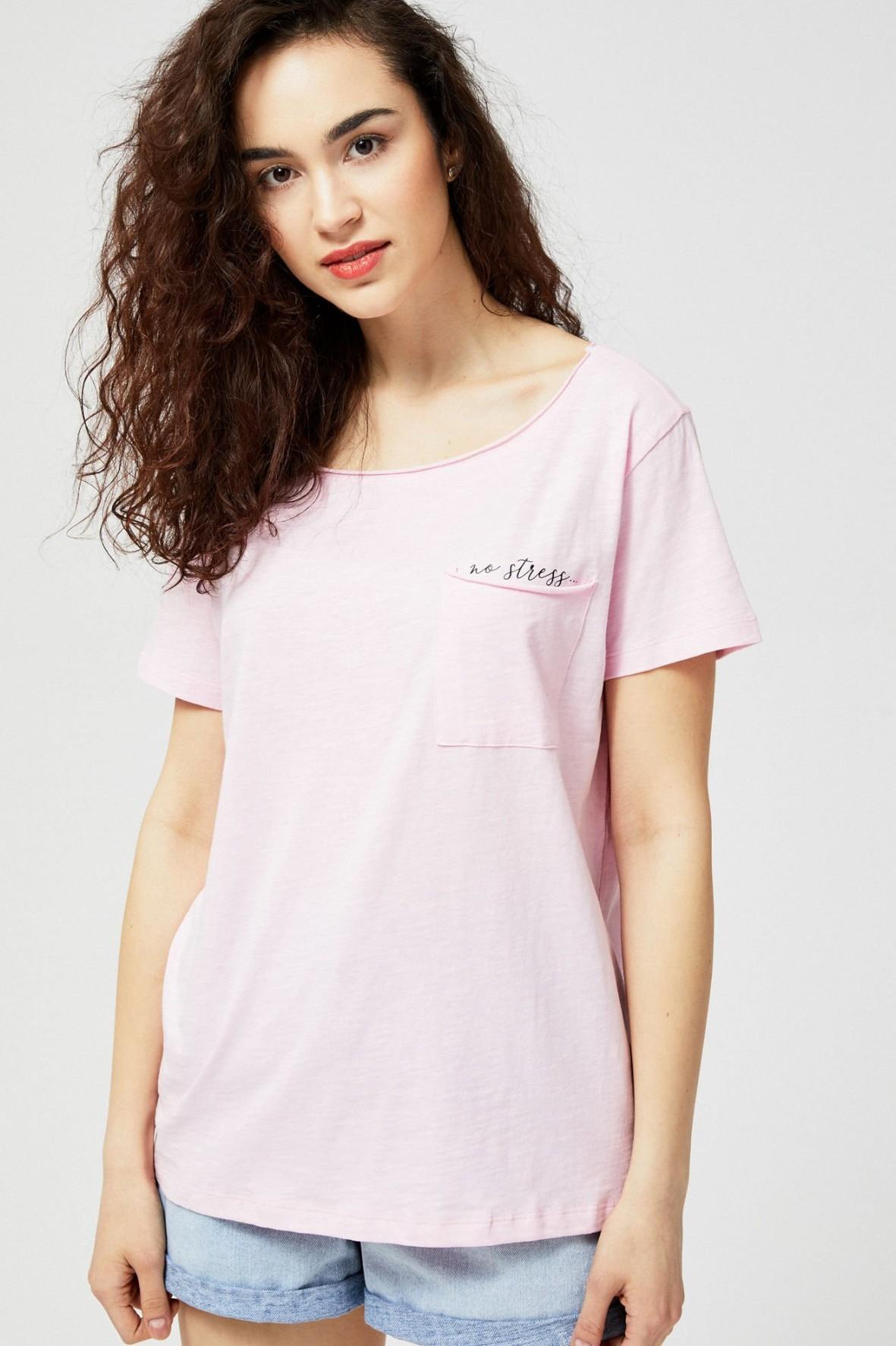 T-shirt damski bawełniany z kieszonką- No stress