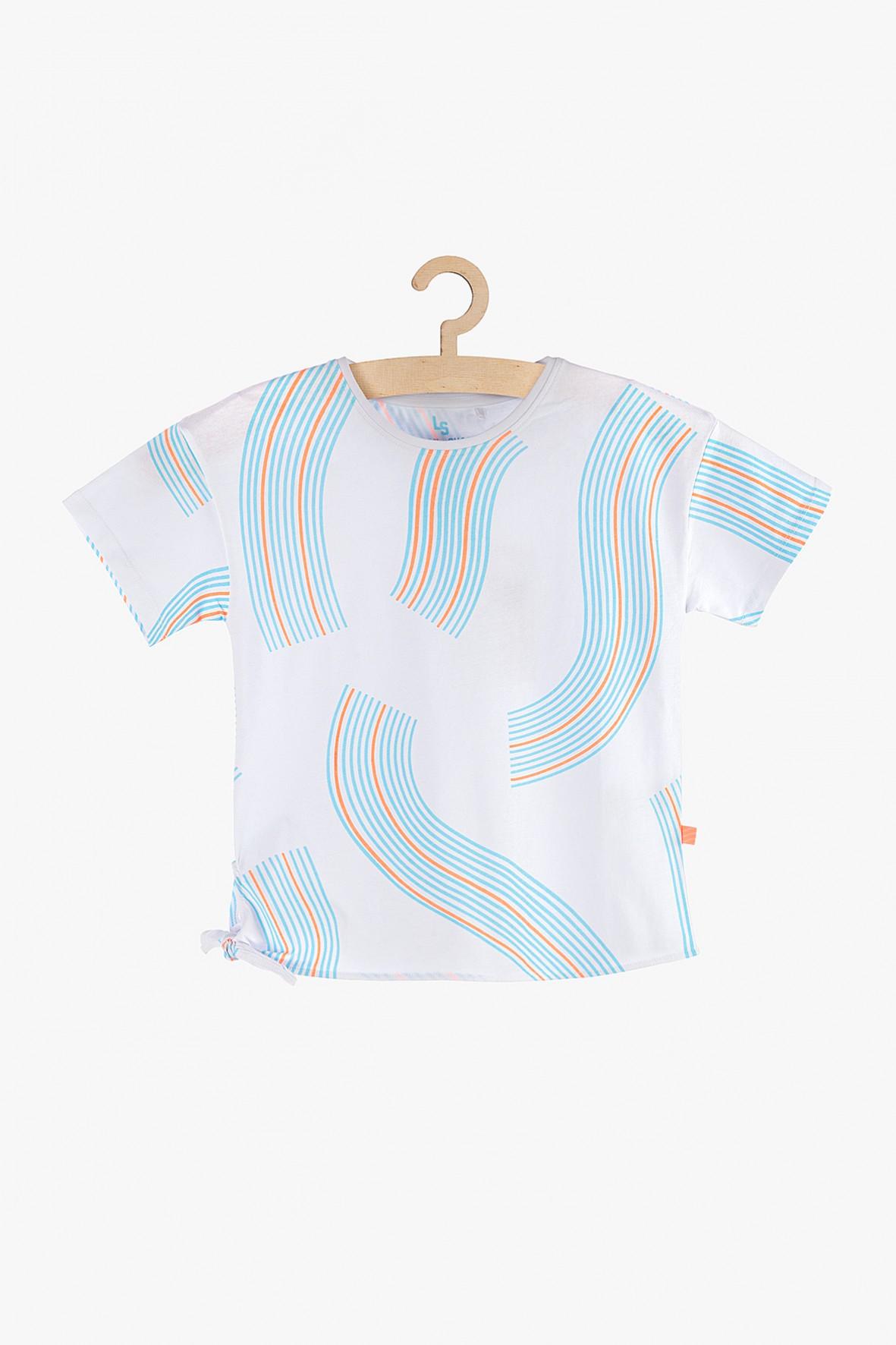 T-shirt dziewczęcy biały w kolorowe wzory