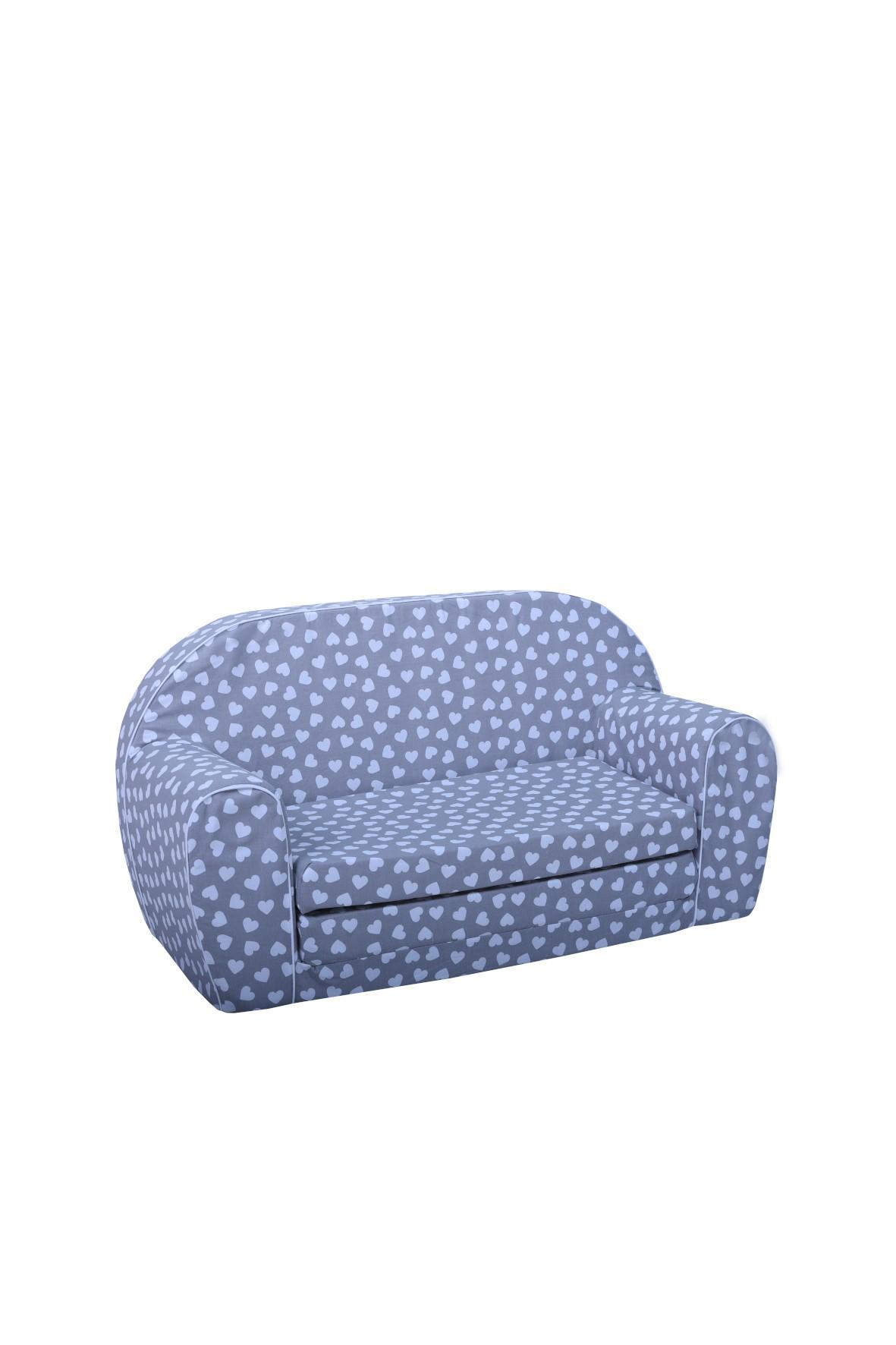 Niebieska sofa w serduszka