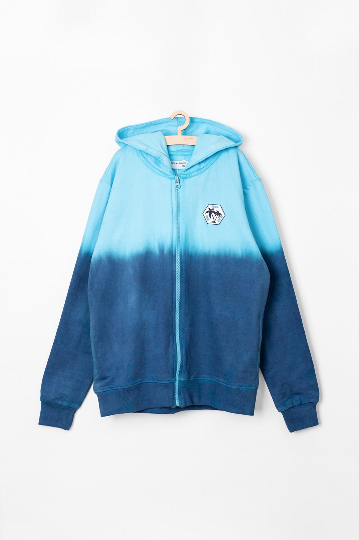 Bluza dresowa dla chłopca- niebieska z kapturem
