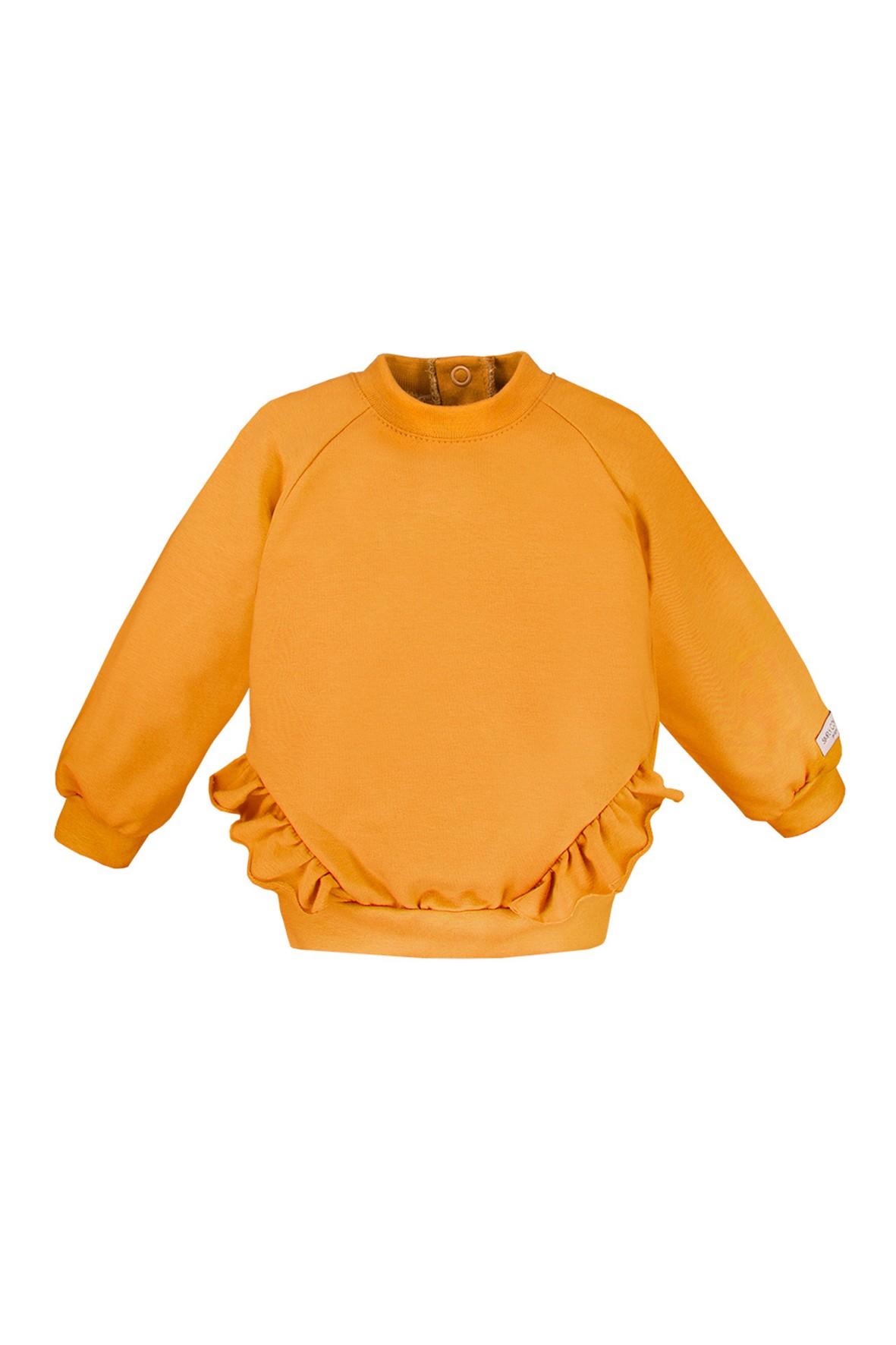 Bawełniana bluza z falbankami - miodowa