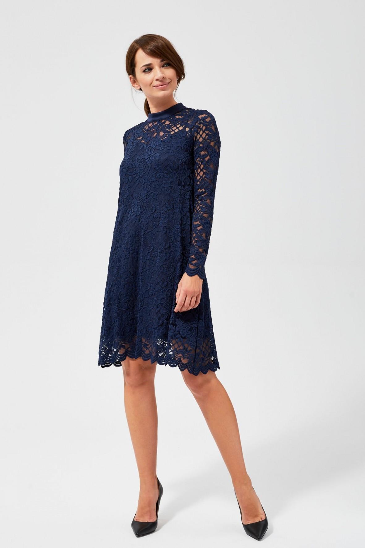 Granatowa sukienka damska- granatowa
