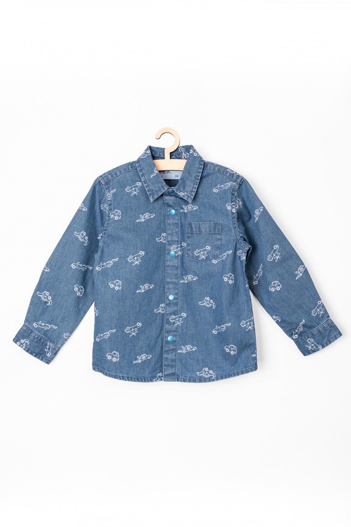 Koszula jeansowa niemowlęca- niebieska w samochody