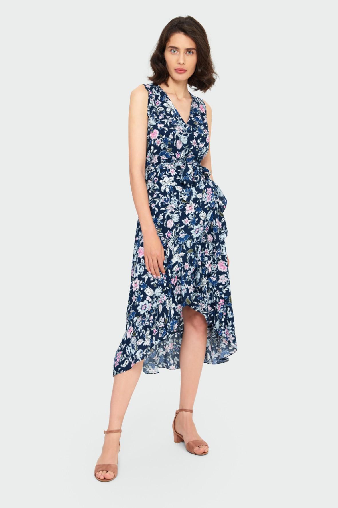 Wiskozowa kopertowa sukienka z kwiatowym nadrukiem