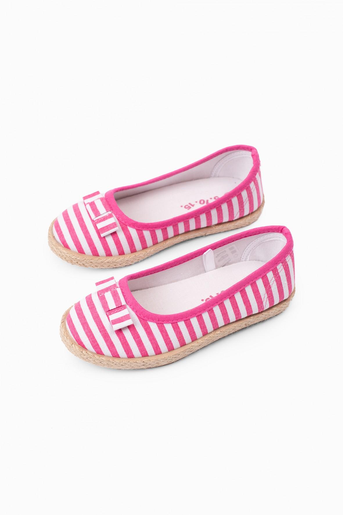 Espadryle dziewczęce  w paseczki różowo - białe z kokardką