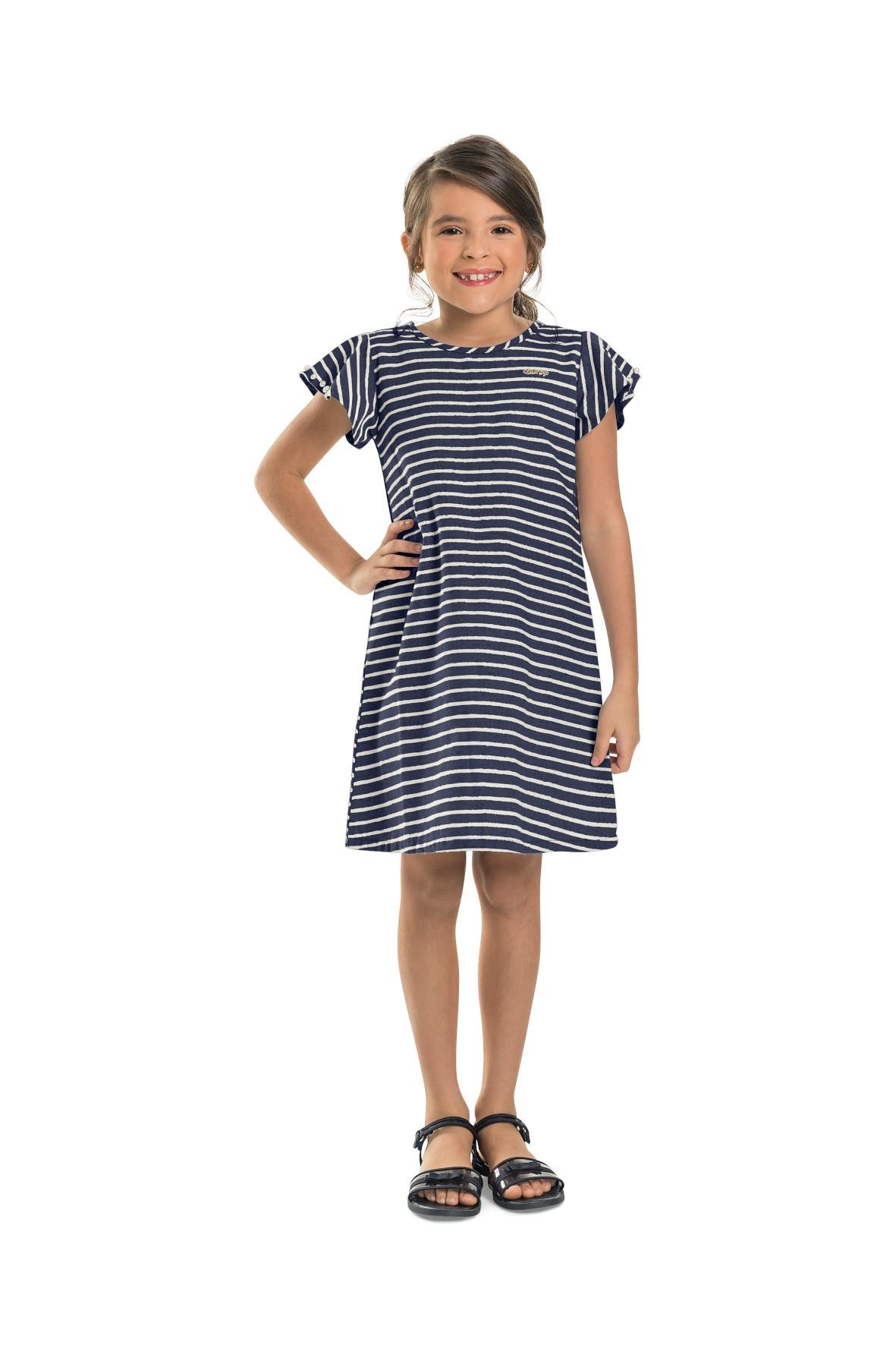 Sukienka dziecięca - granatowa w paski