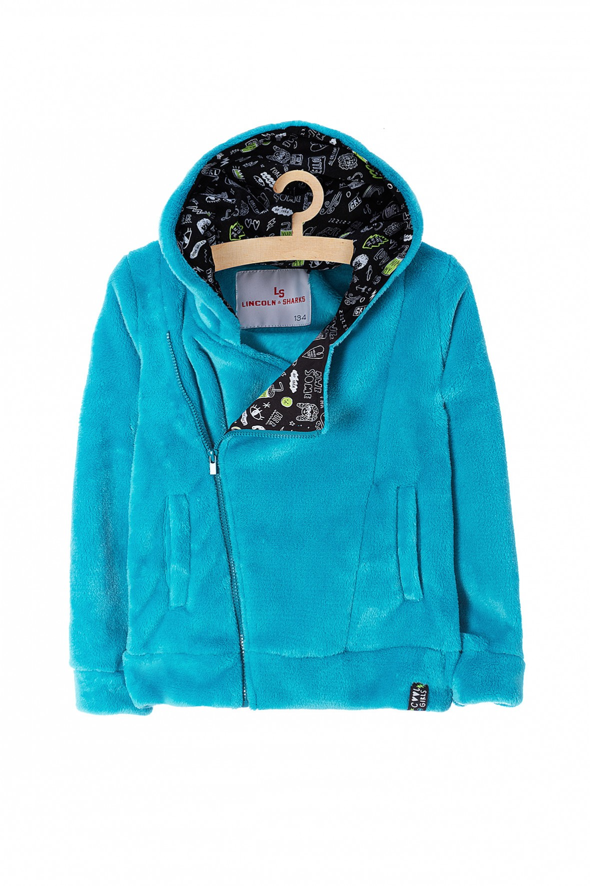 Bluza polarowa dziewczęca z kapturem niebieska