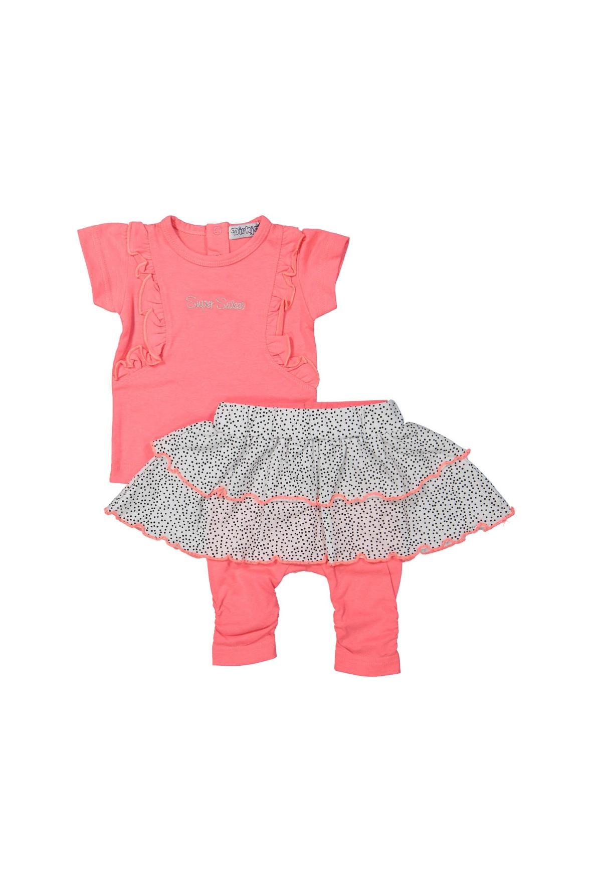 Komplet niemowlęcy t-shirt i leginsy z falbanką imitującą spódniczkę