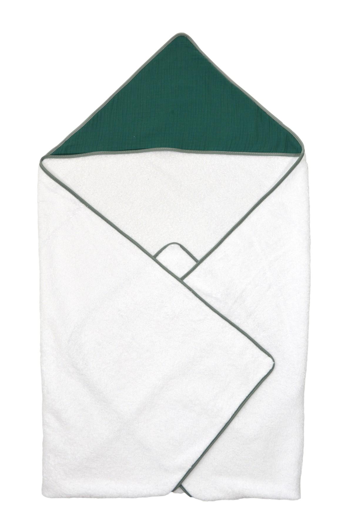 Okrycie kąpielowe dla dziecka 100x100cm - biało-zielone
