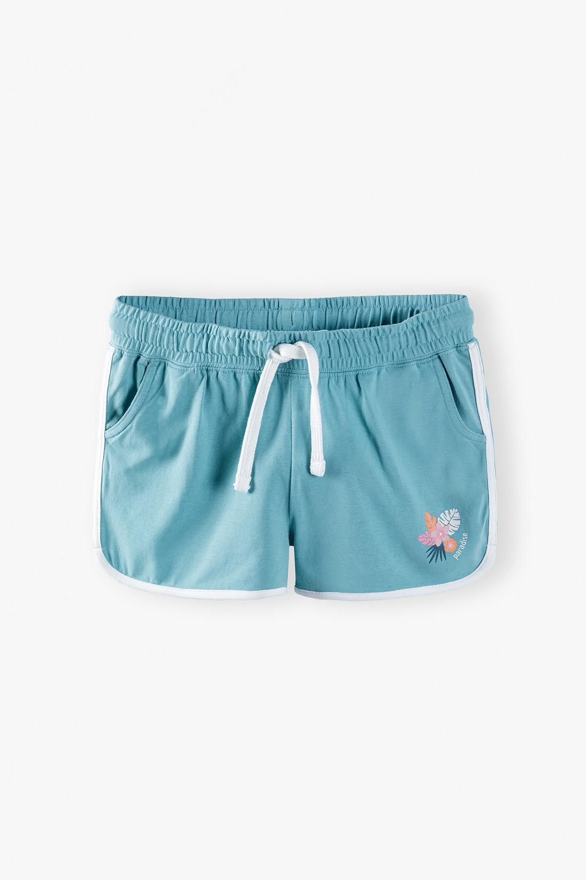 Szorty dziewczęce sportowe z kwiatkami - niebieskie