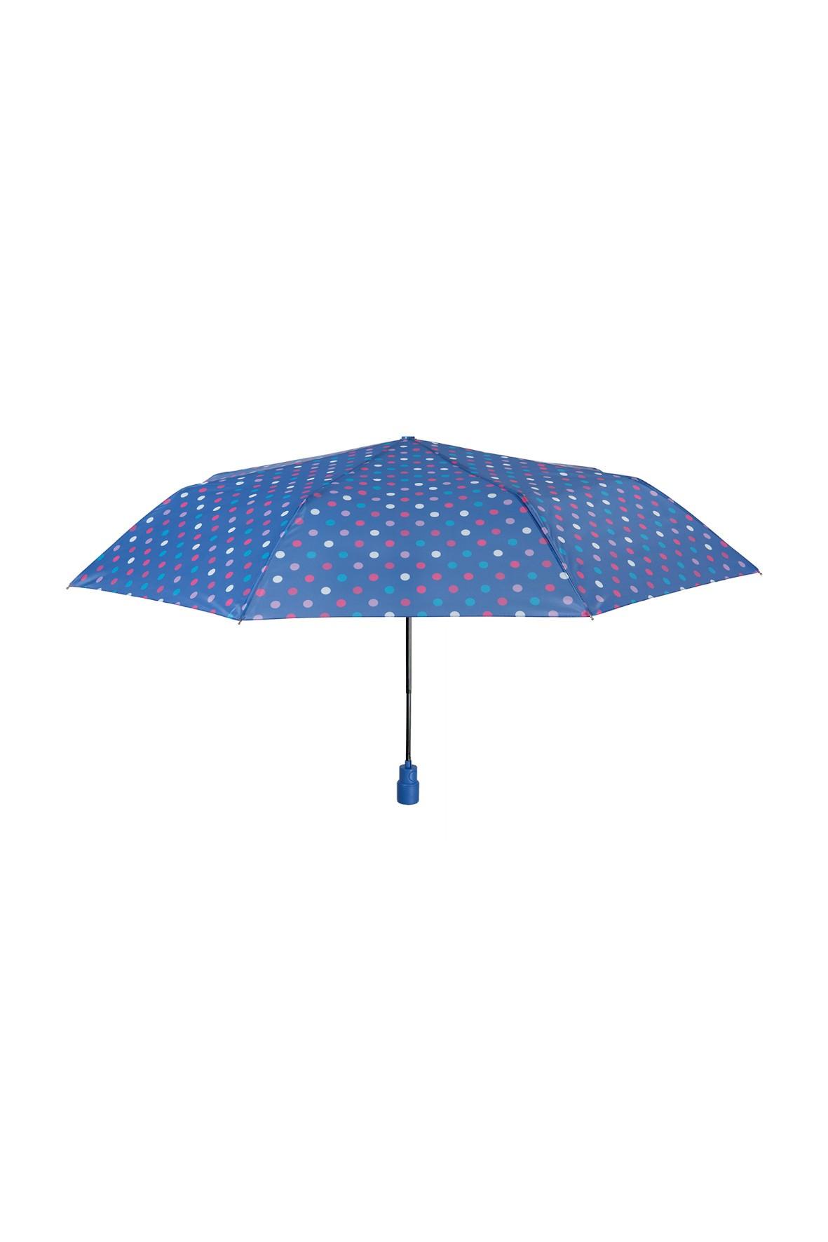Parasol automatyczny -8 paneli średnica 99cm -  niebieski w kolorowe grochy