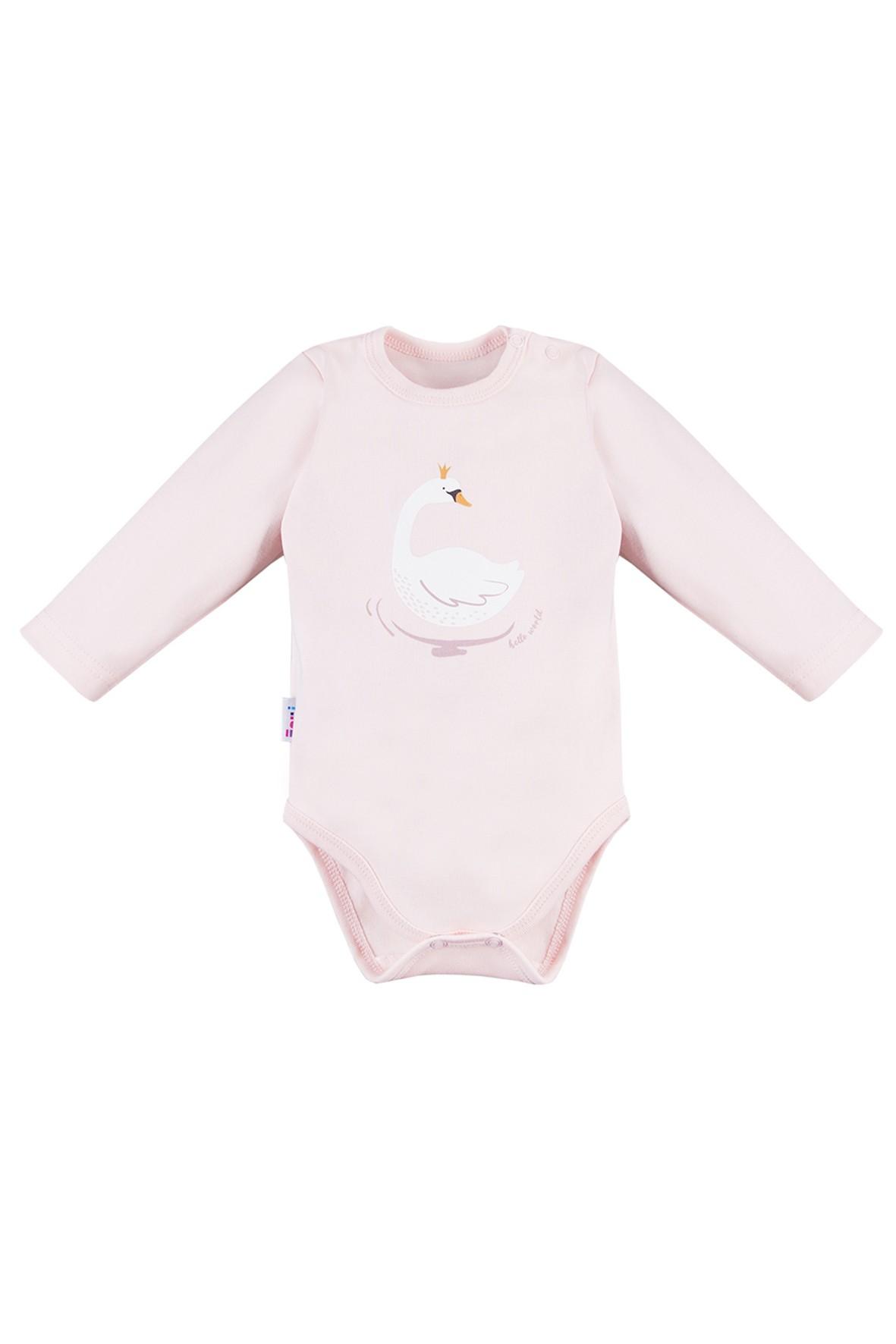 Body niemowlęce różowe z łabędziem