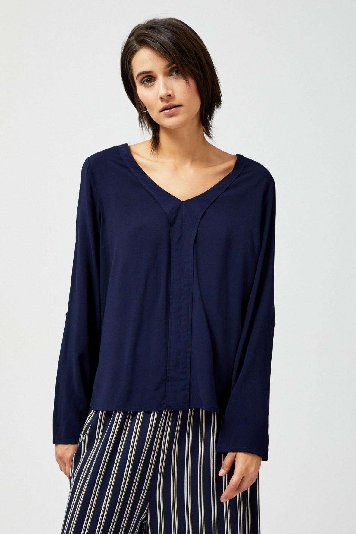 Granatowa bluzka damska- luźny fason