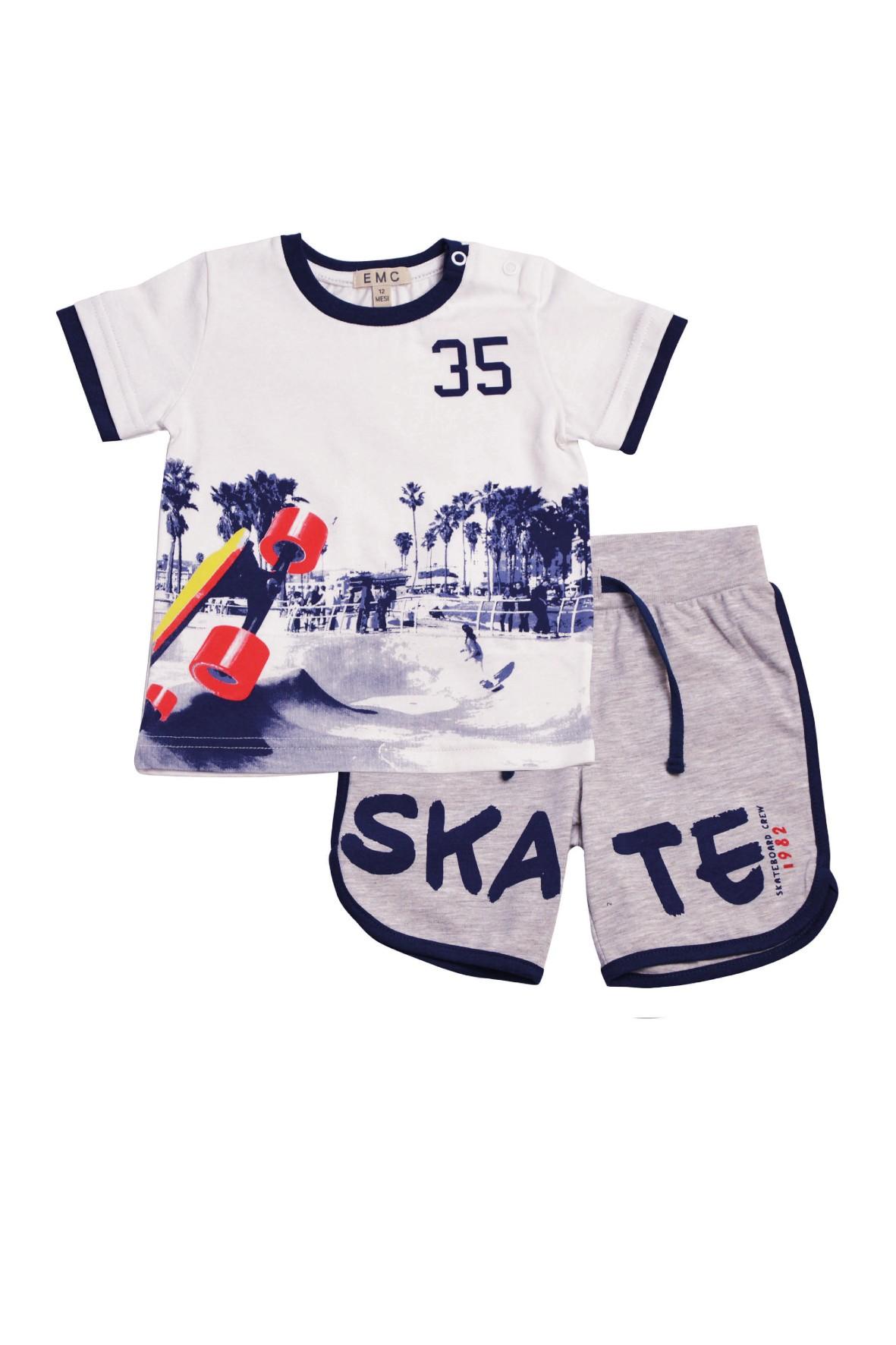 Komplet chłopięcy na lato koszulka i spodenki Skate