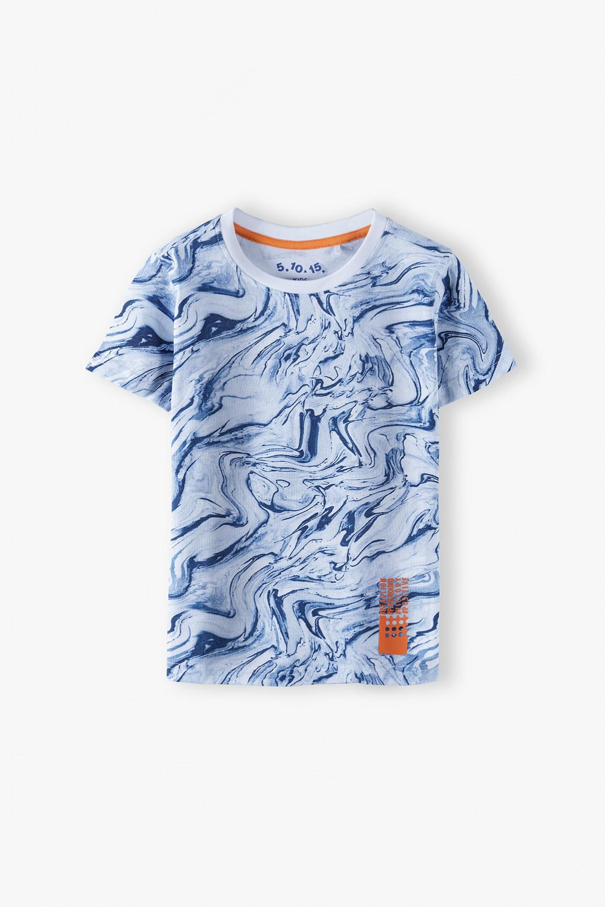 Bawełniany t-shirt chłopięcy- niebieski