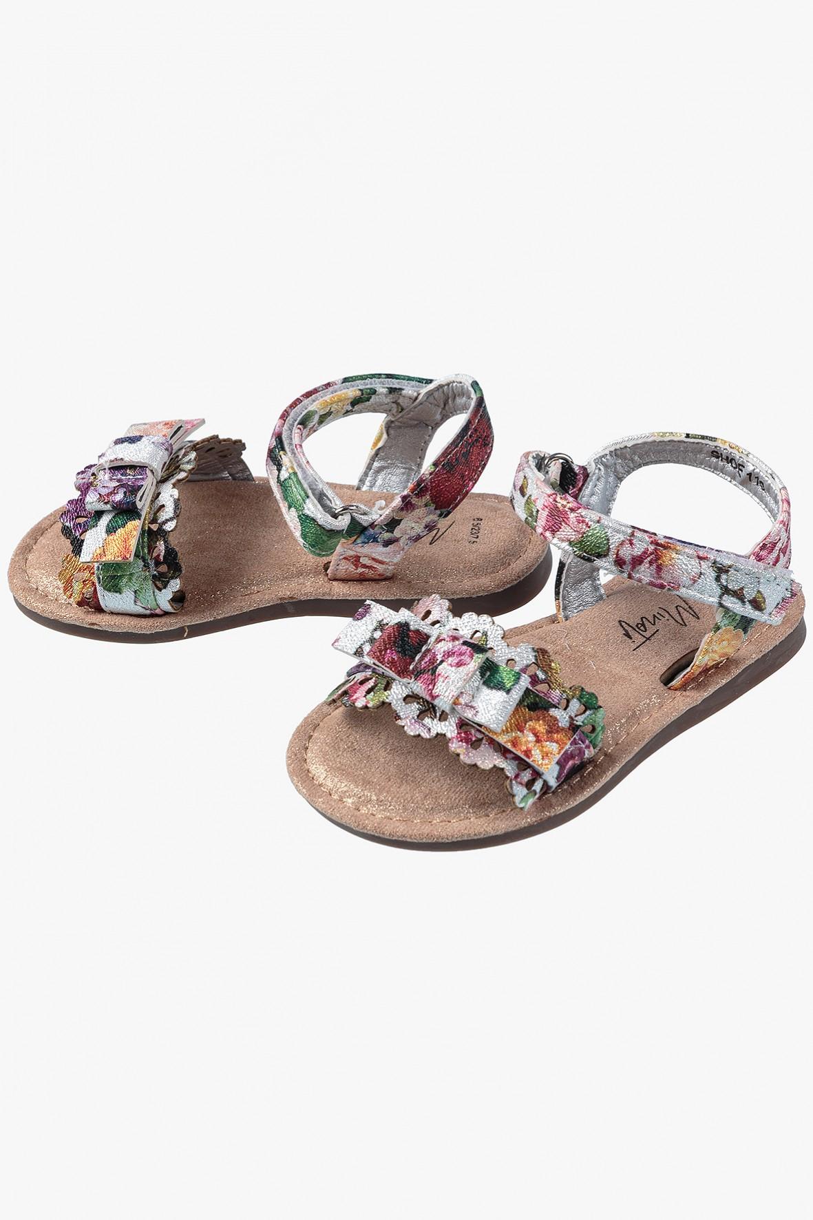 Sandały dla dziewczynki- kolorowe w kwiatki