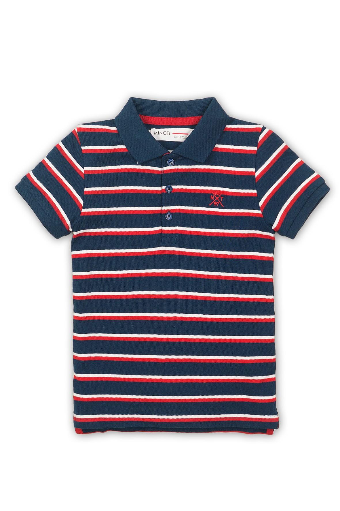 Koszulka chłopięca w granatowo-czerwone paski