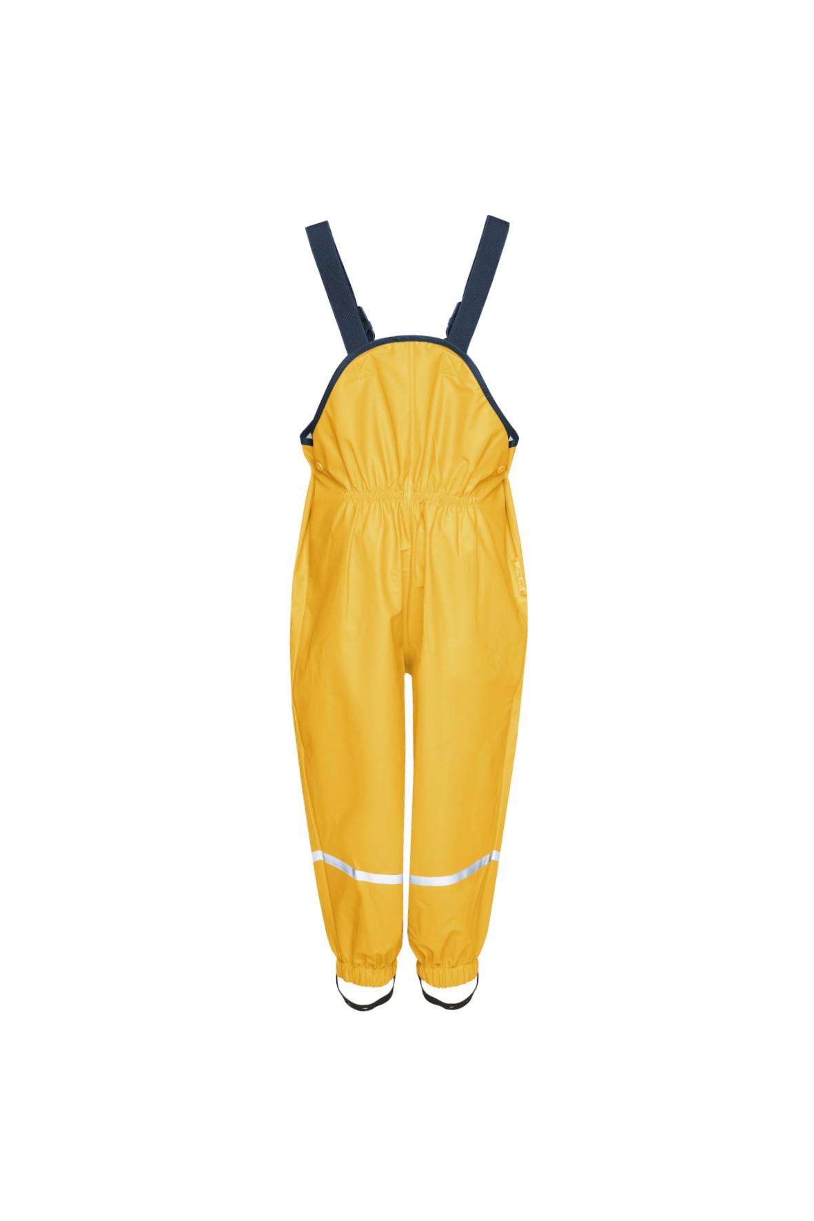 Spodnie przeciwdeszczowe na szelkach z elementami odblaskowymi-żółte