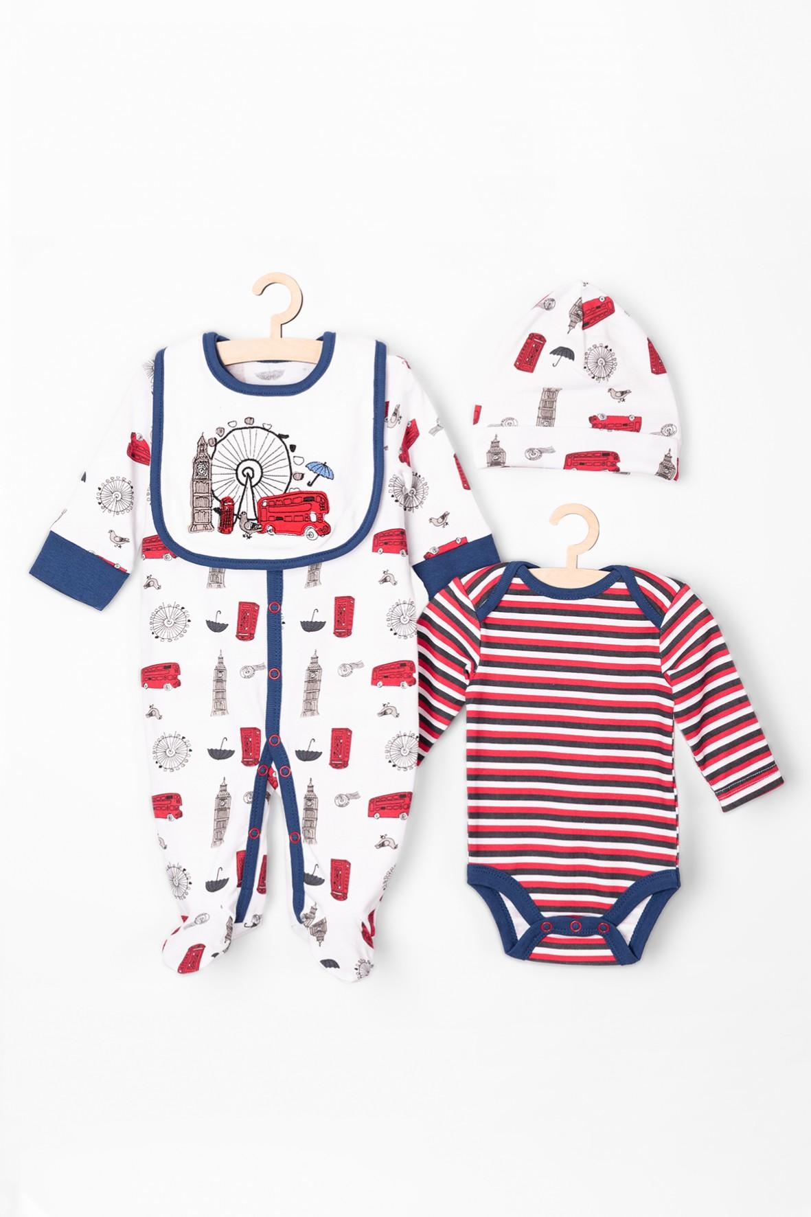 Zestaw niemowlęcy- pajac-body-czapka-śliniak