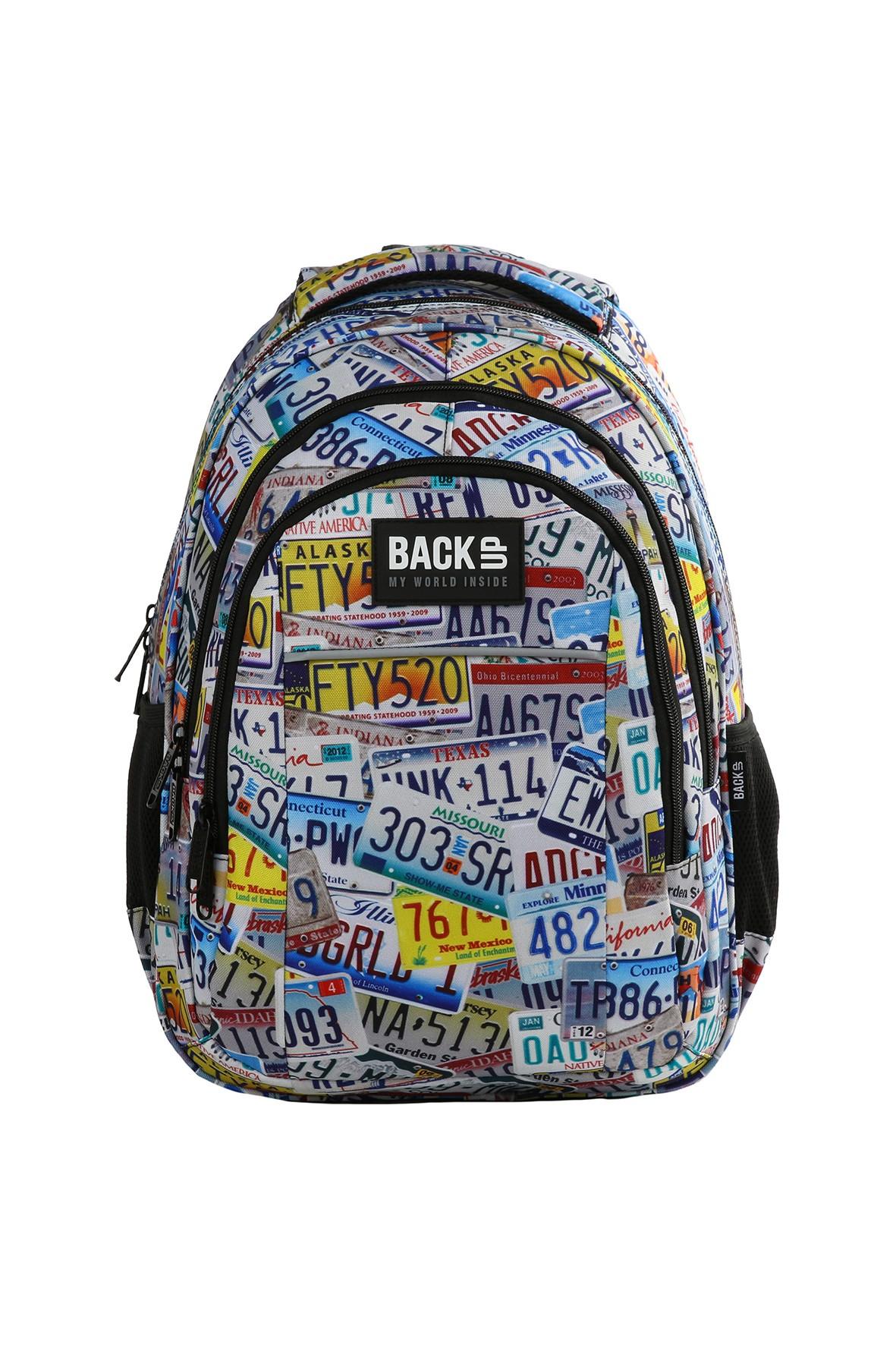 Plecak BACKUP w młodzieżowy wzór- 3komory