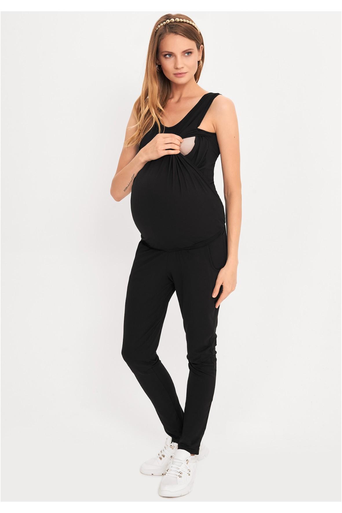 Czarny kombinezon ciążowy i dla karmiącej mamy bez rękawów