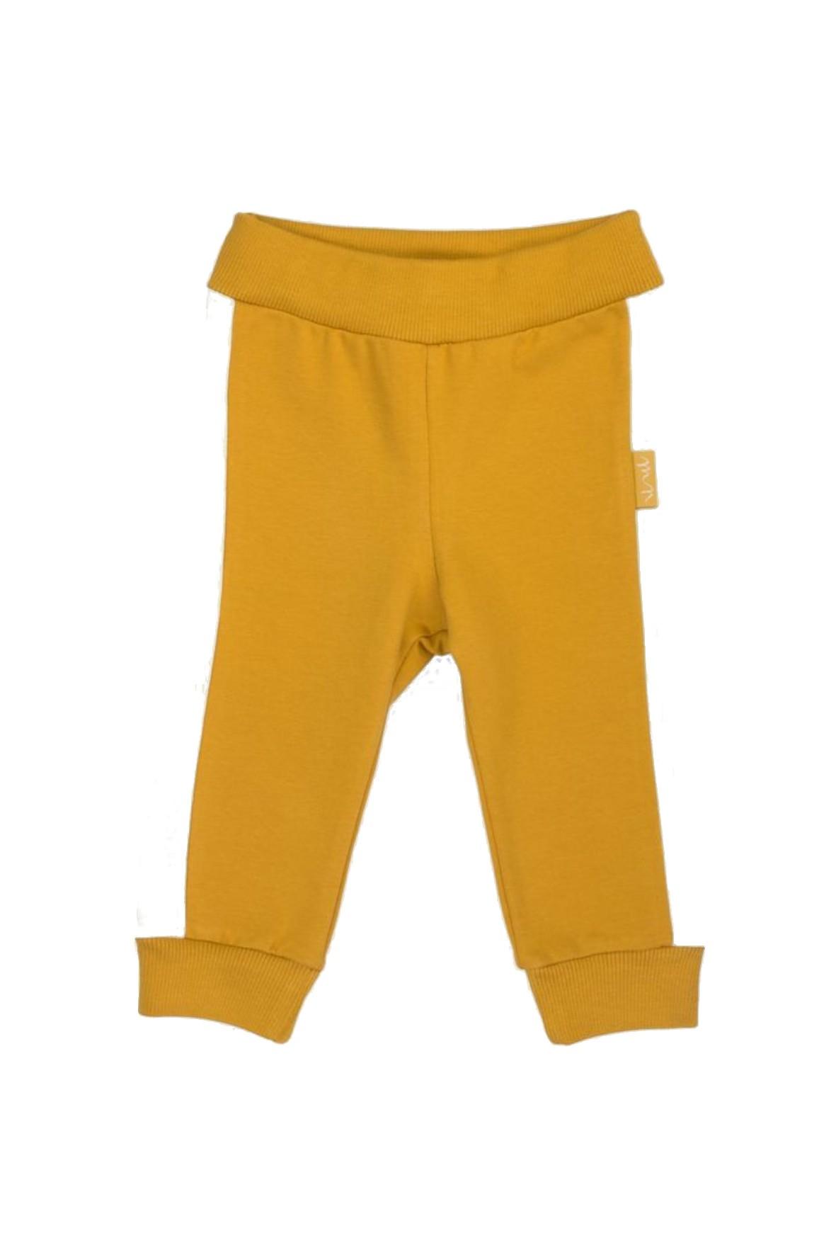 Spodnie z musztardowej bawełny dresowej
