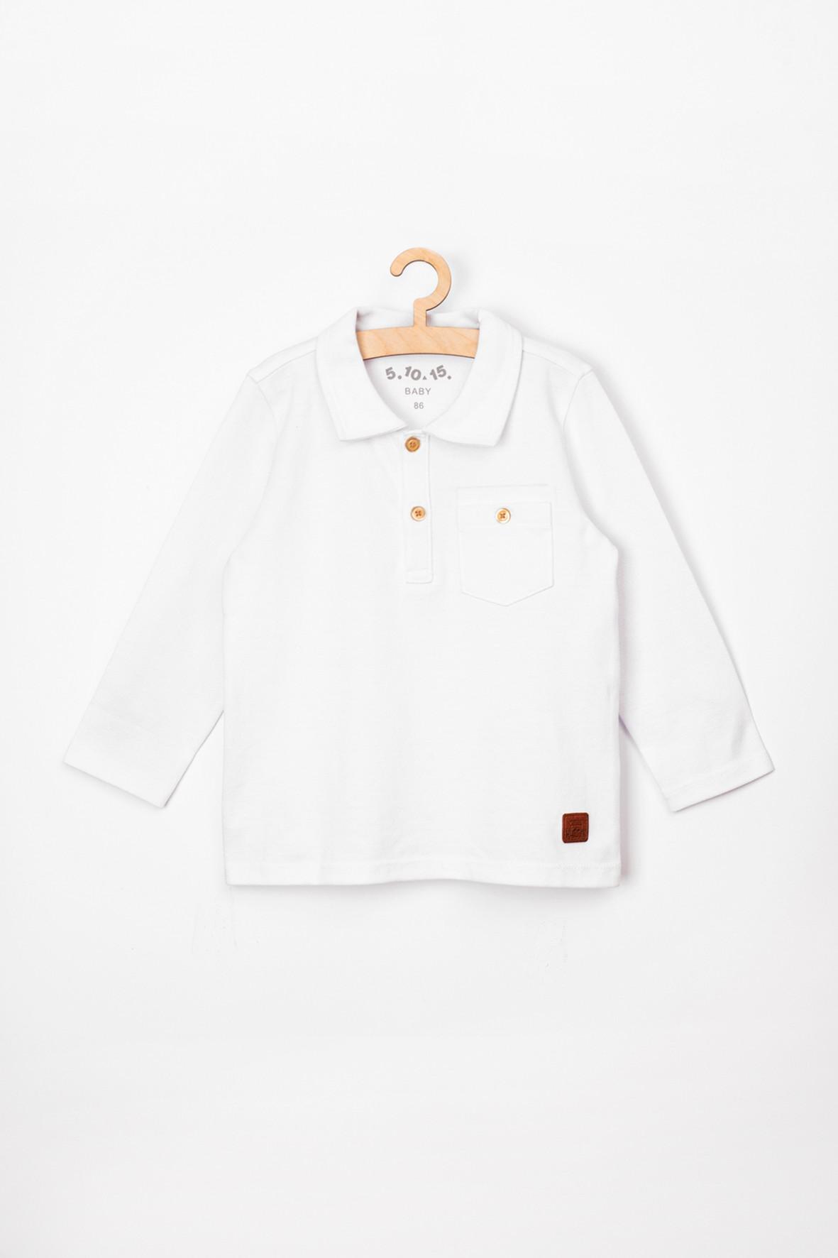 Bluzka niemowlęca z długim rękawem i kołnierzykiem-biała
