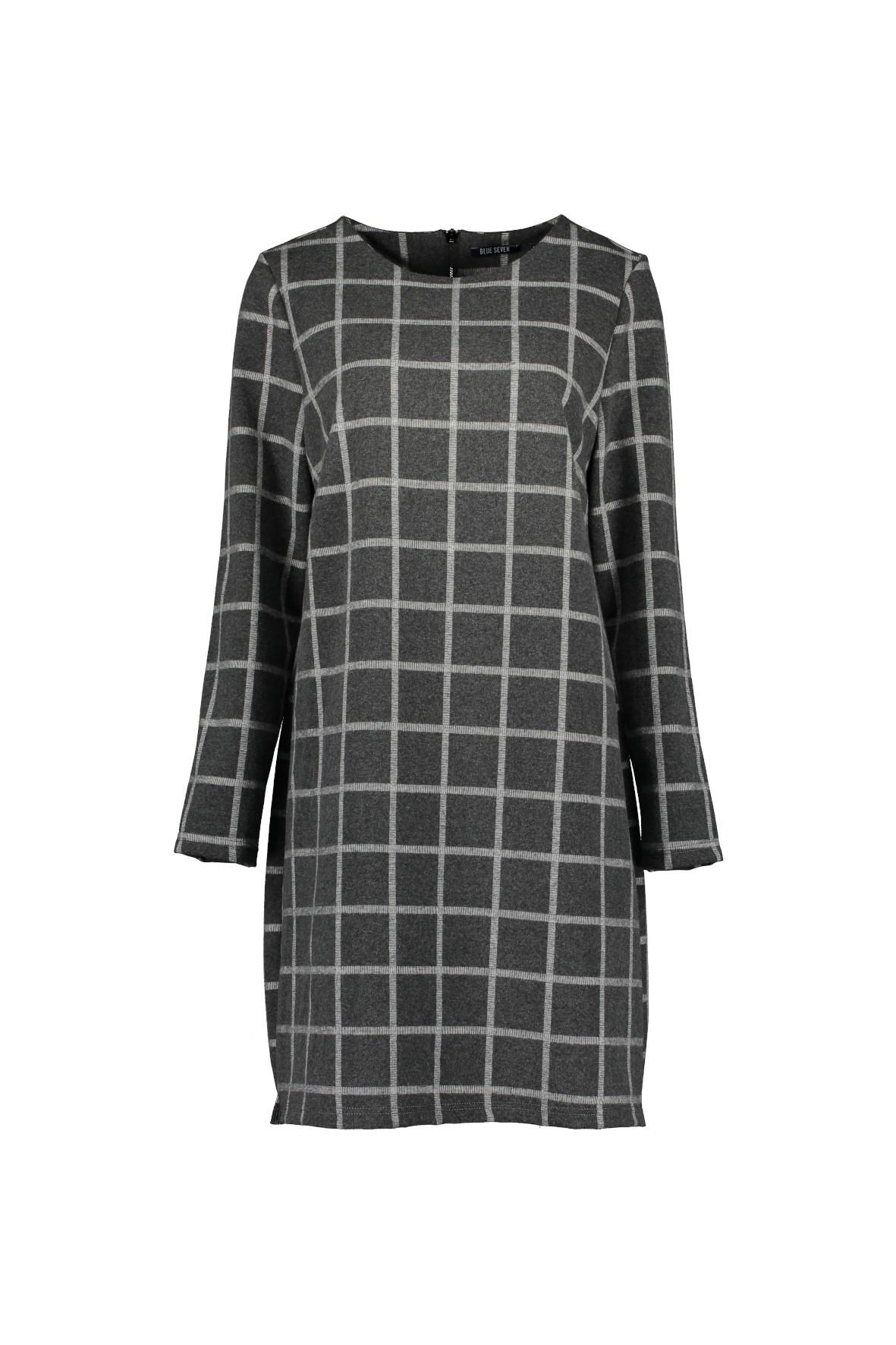 Dzianinowa sukienka damska w kratkę - szara