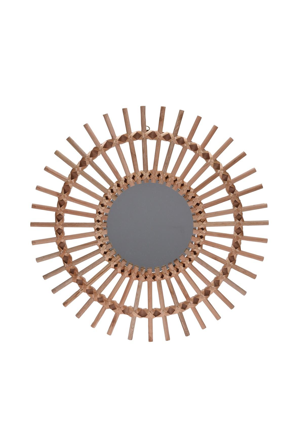 Lustro okrągłe drewniane 50 cm natural