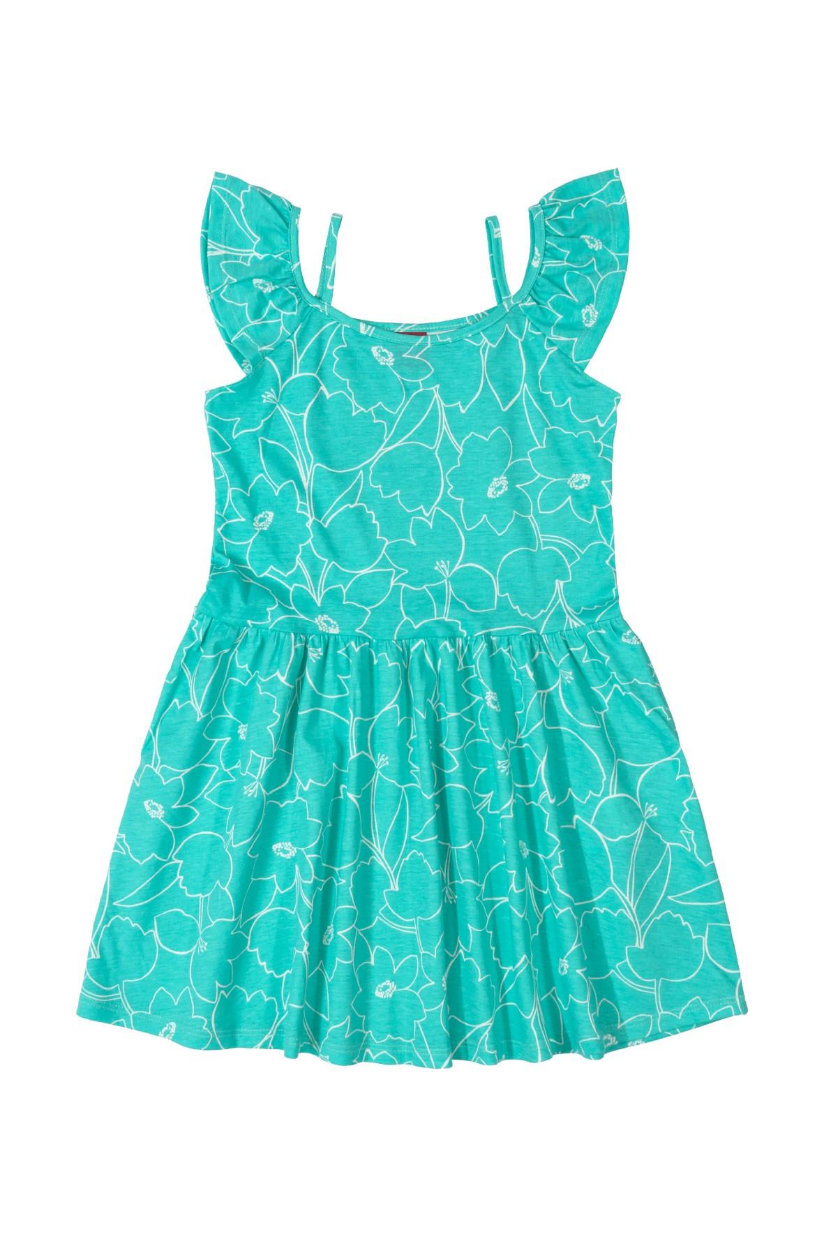 Sukienka dziewczęca w kwiatki - niebieska
