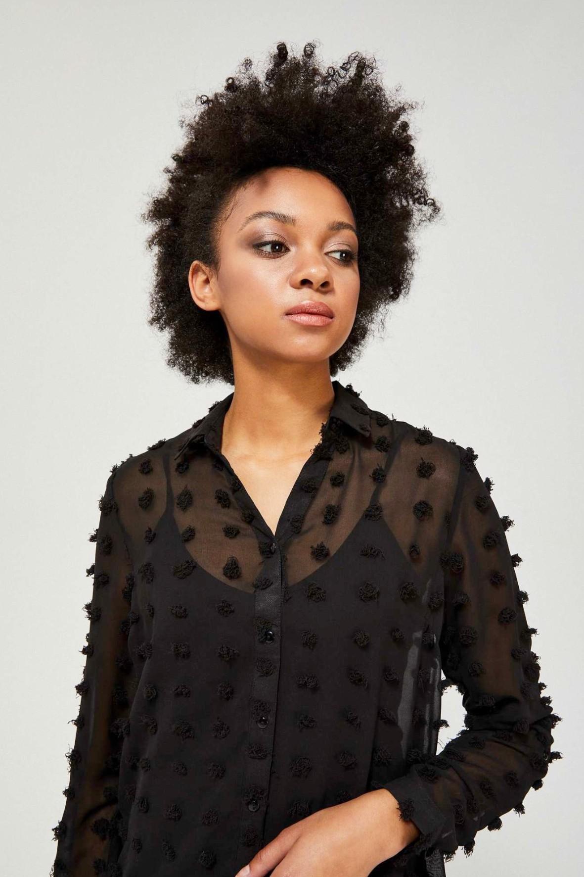 Damska czarna koszula w kropki 3D