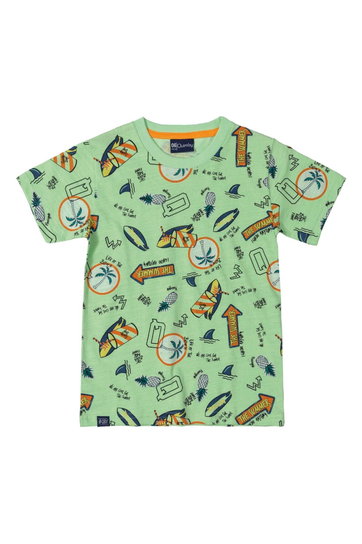 T-Shirt chłopięcy zielony - wakacyjny wzór