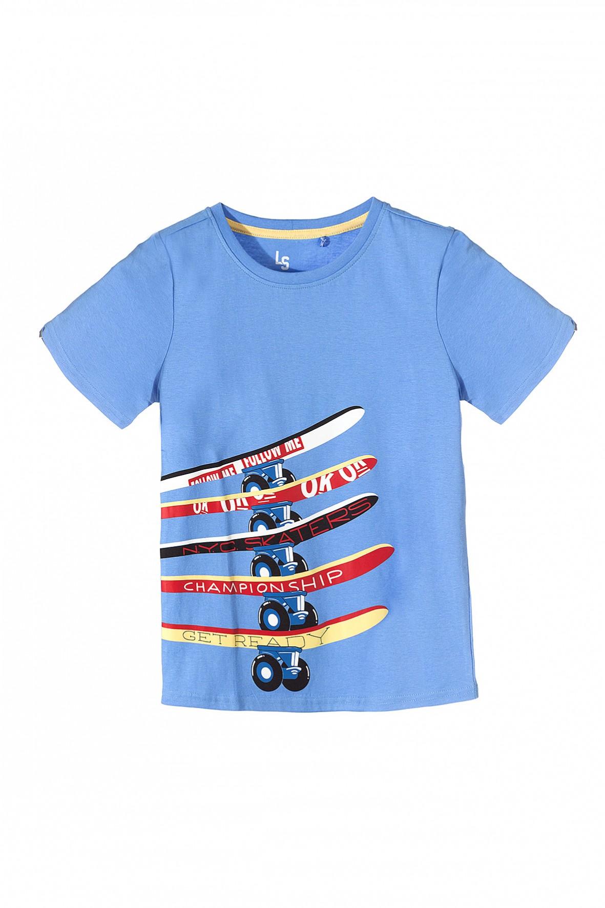 Koszulka chłopięca niebieska z deskorolkami
