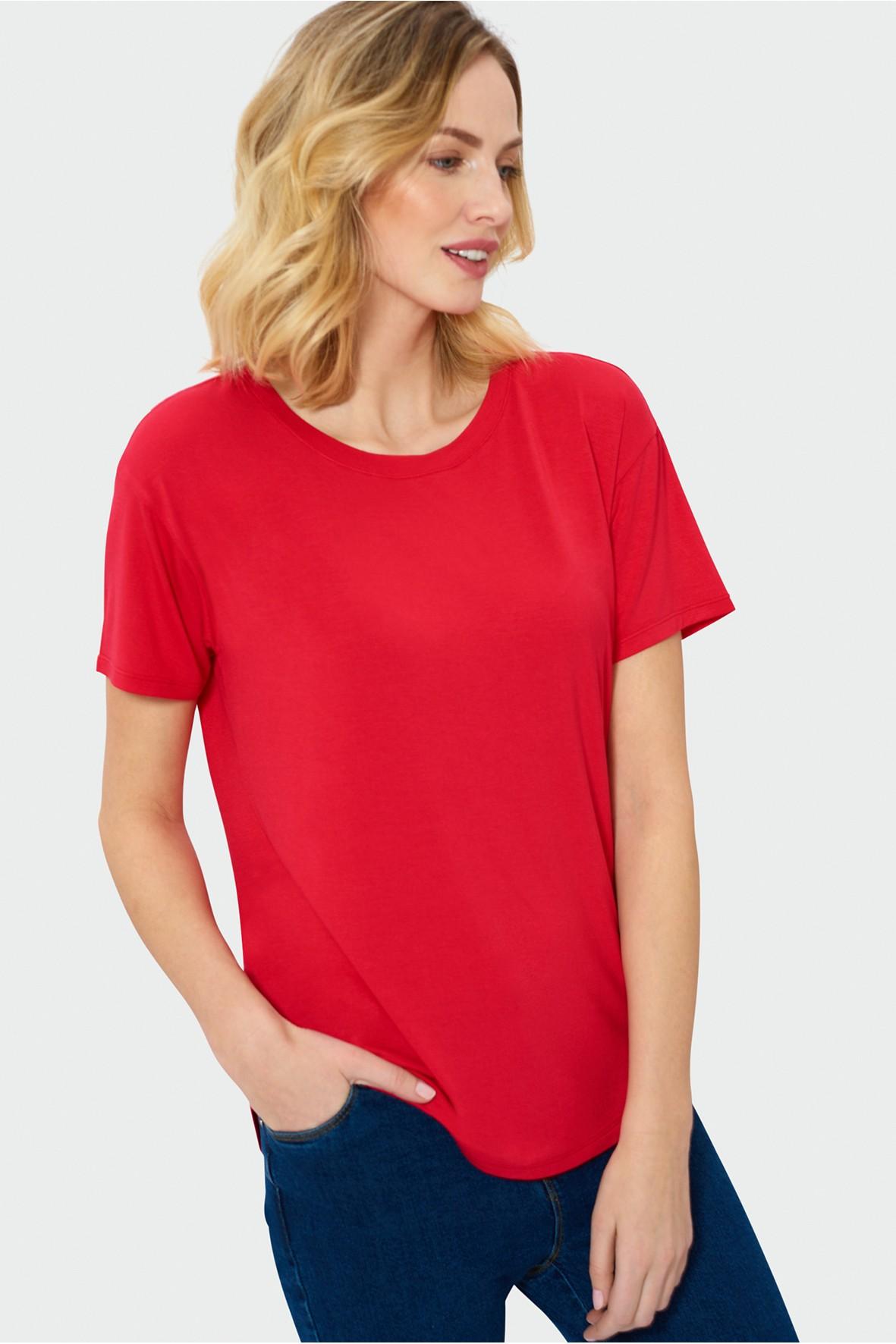 Czerwony oversize'owy t-shirt dla kobiet