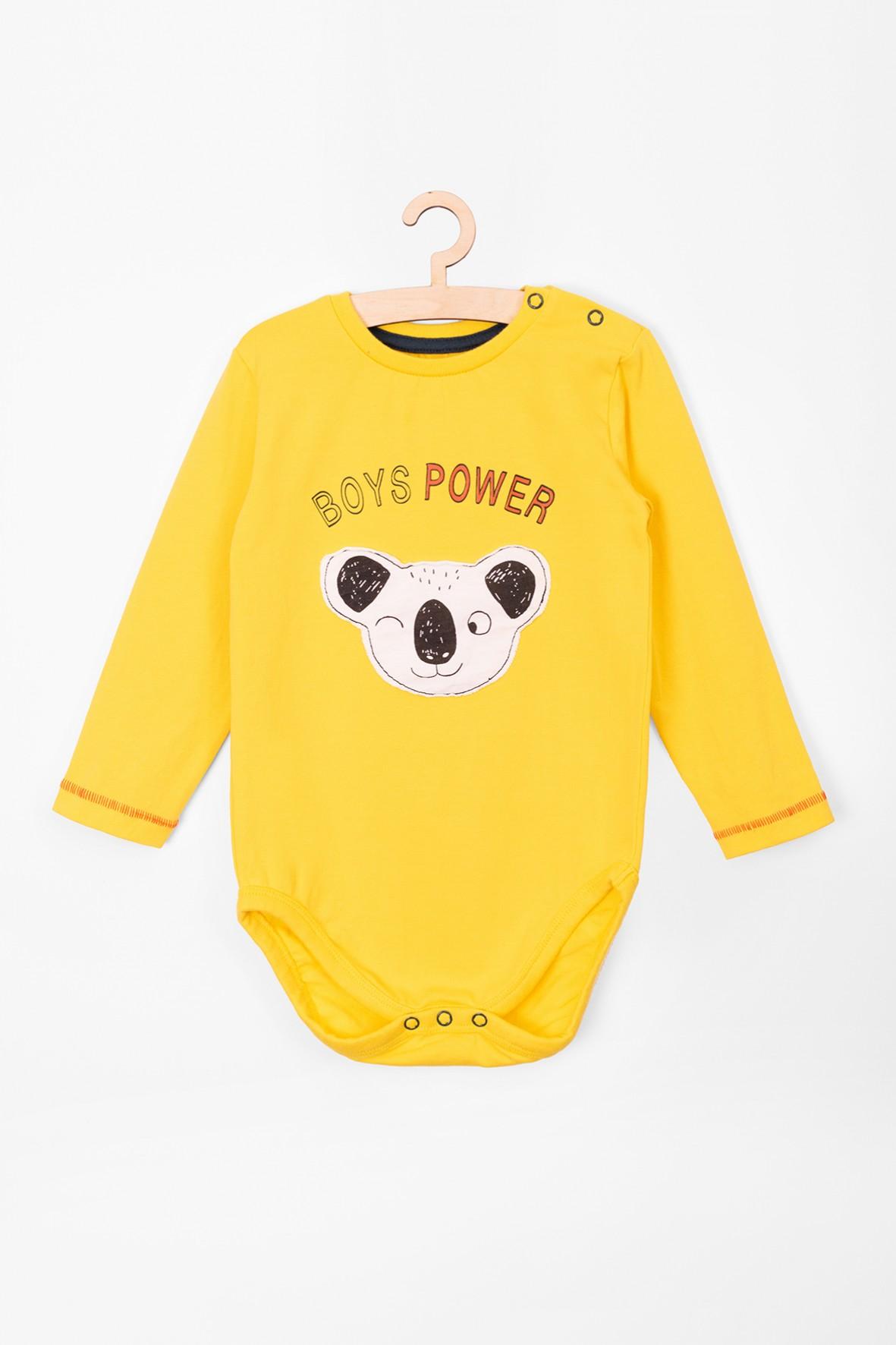 Body niemowlęce z długim rękawem- żółte z pandą