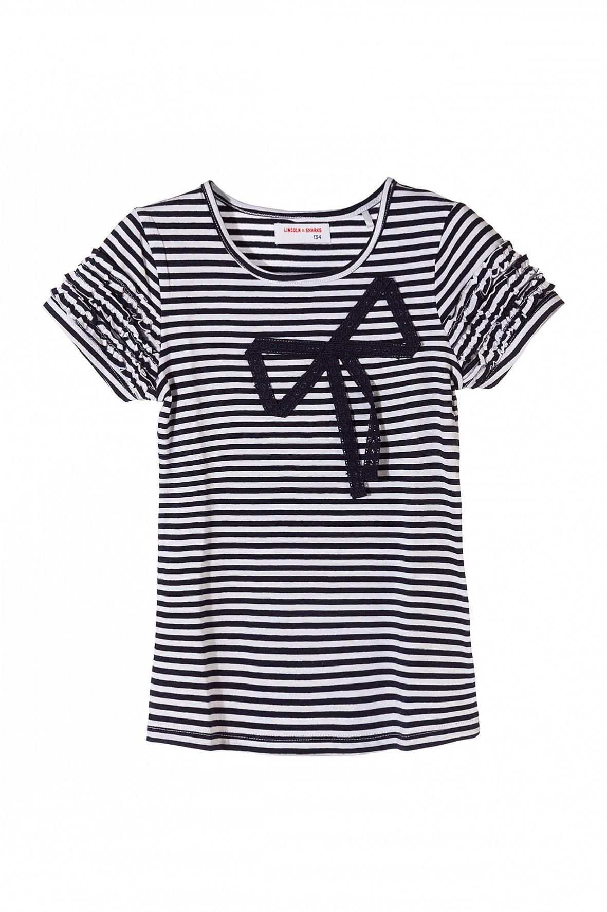 T-shirt dla dziewczynki w biało granatowe paski