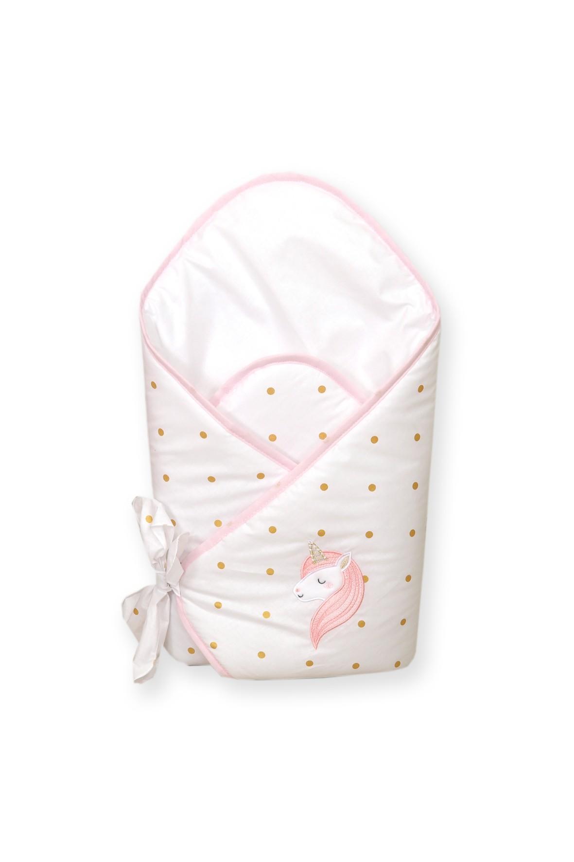 Becik usztywniany dla dziecka Amy Jednorożec- różowy