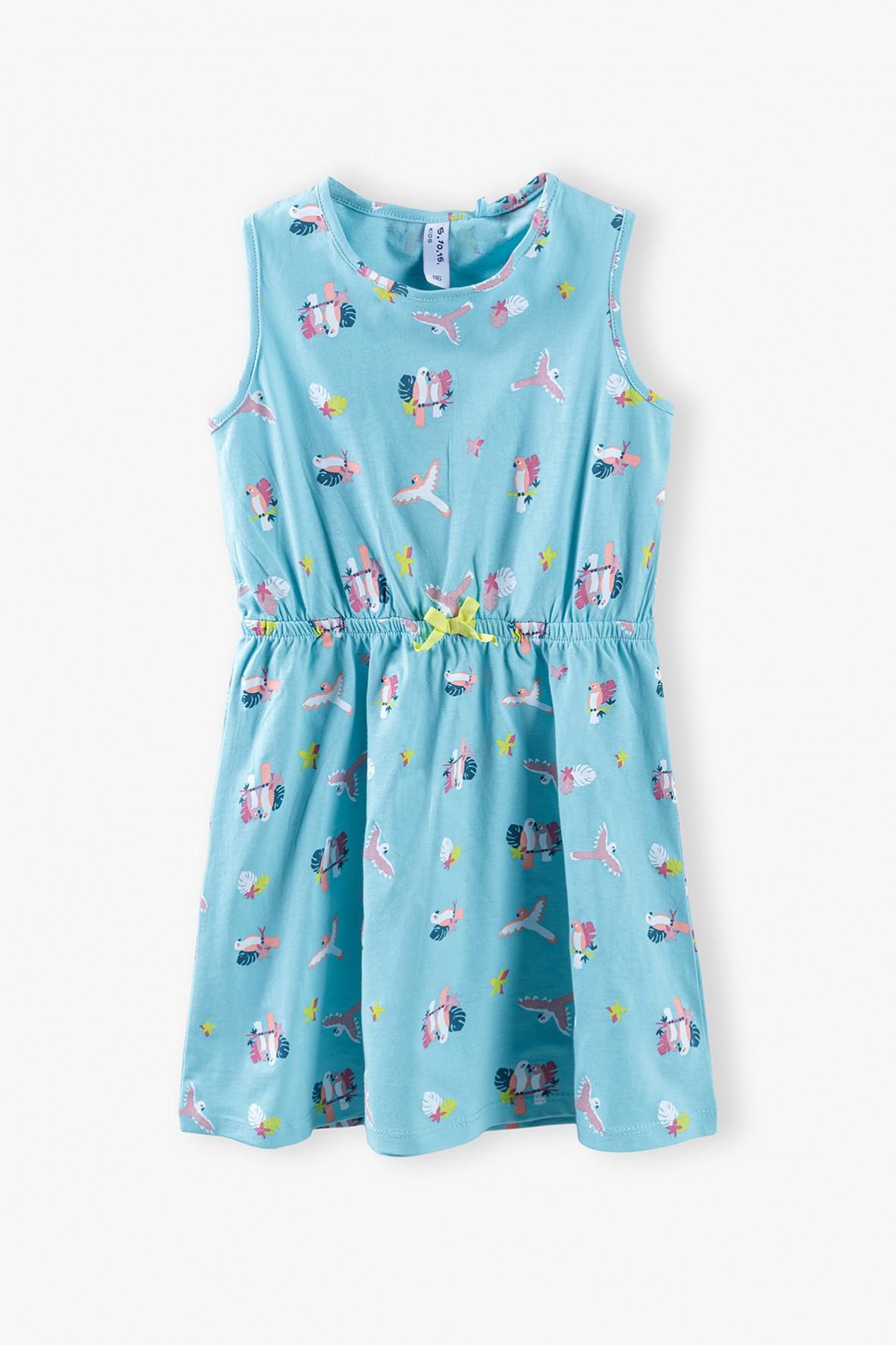 Bawełniana sukienka z morskimi motywami - niebieska