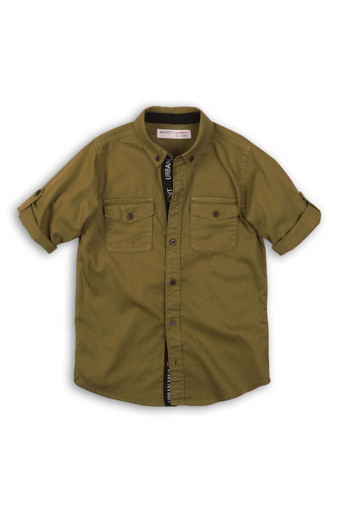 Koszula chłopięca z wywijanym rękawem zielona