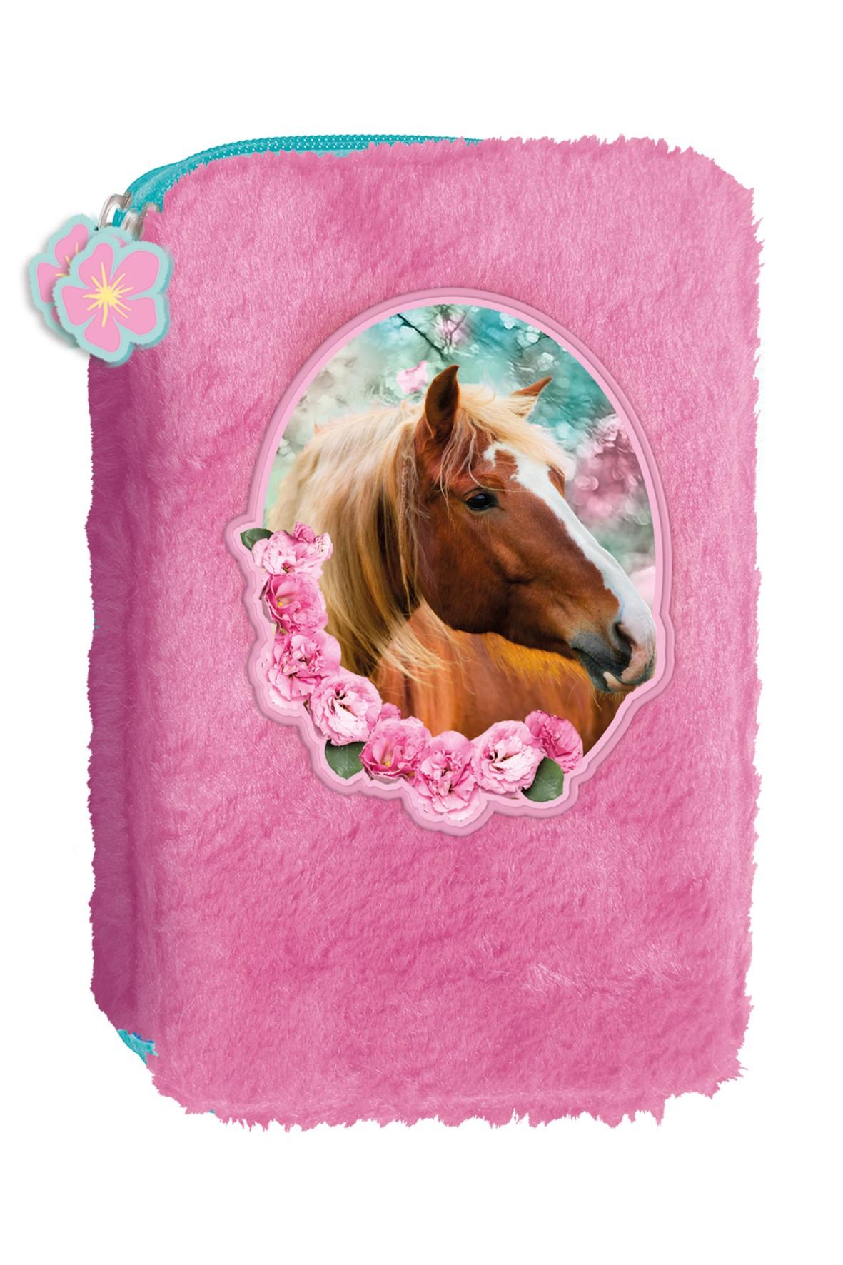 Piórnik z różowym futerkiem Koniki