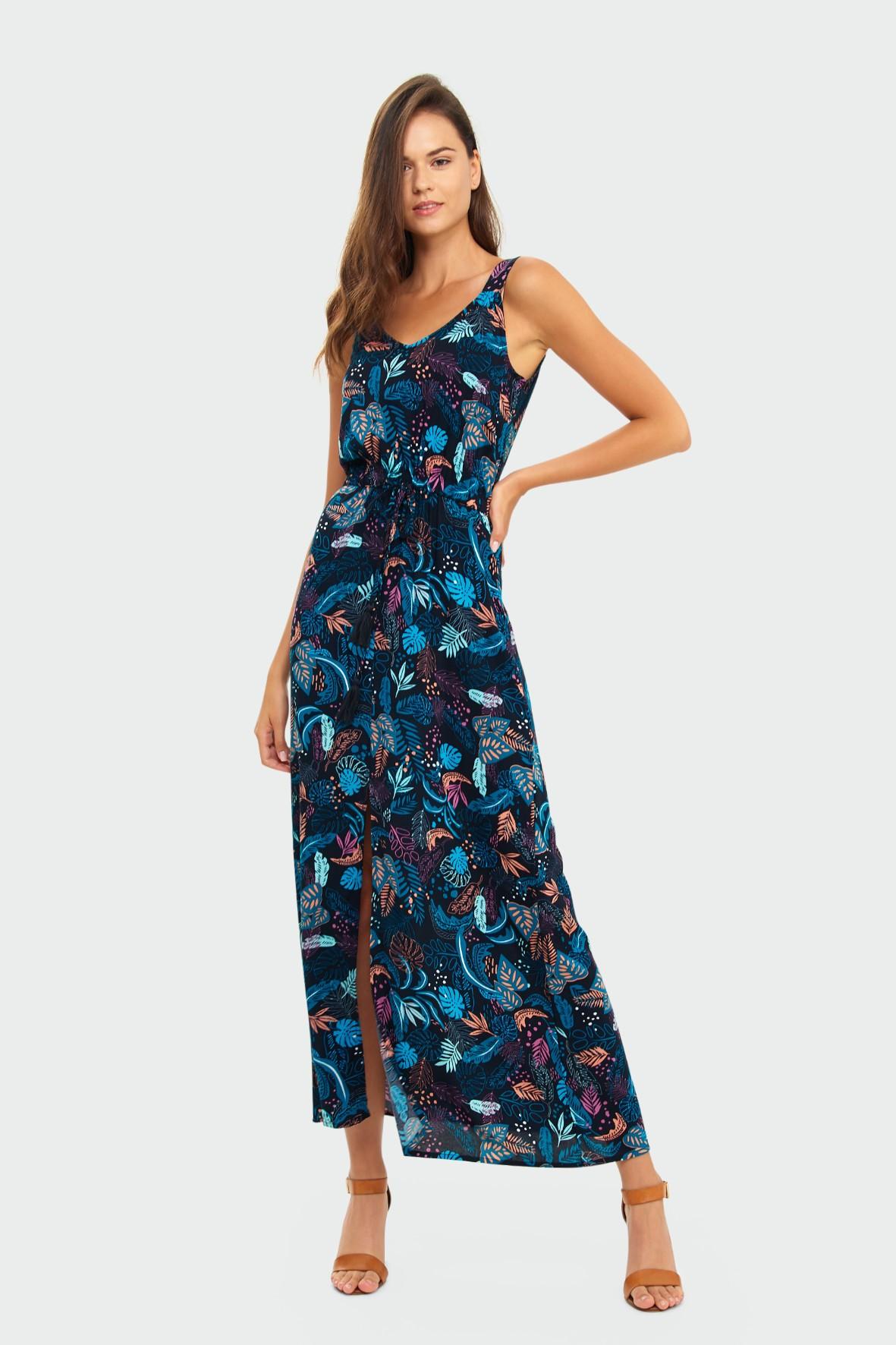 Granatowa długa wiskozowa sukienka z roślinnym nadrukiem