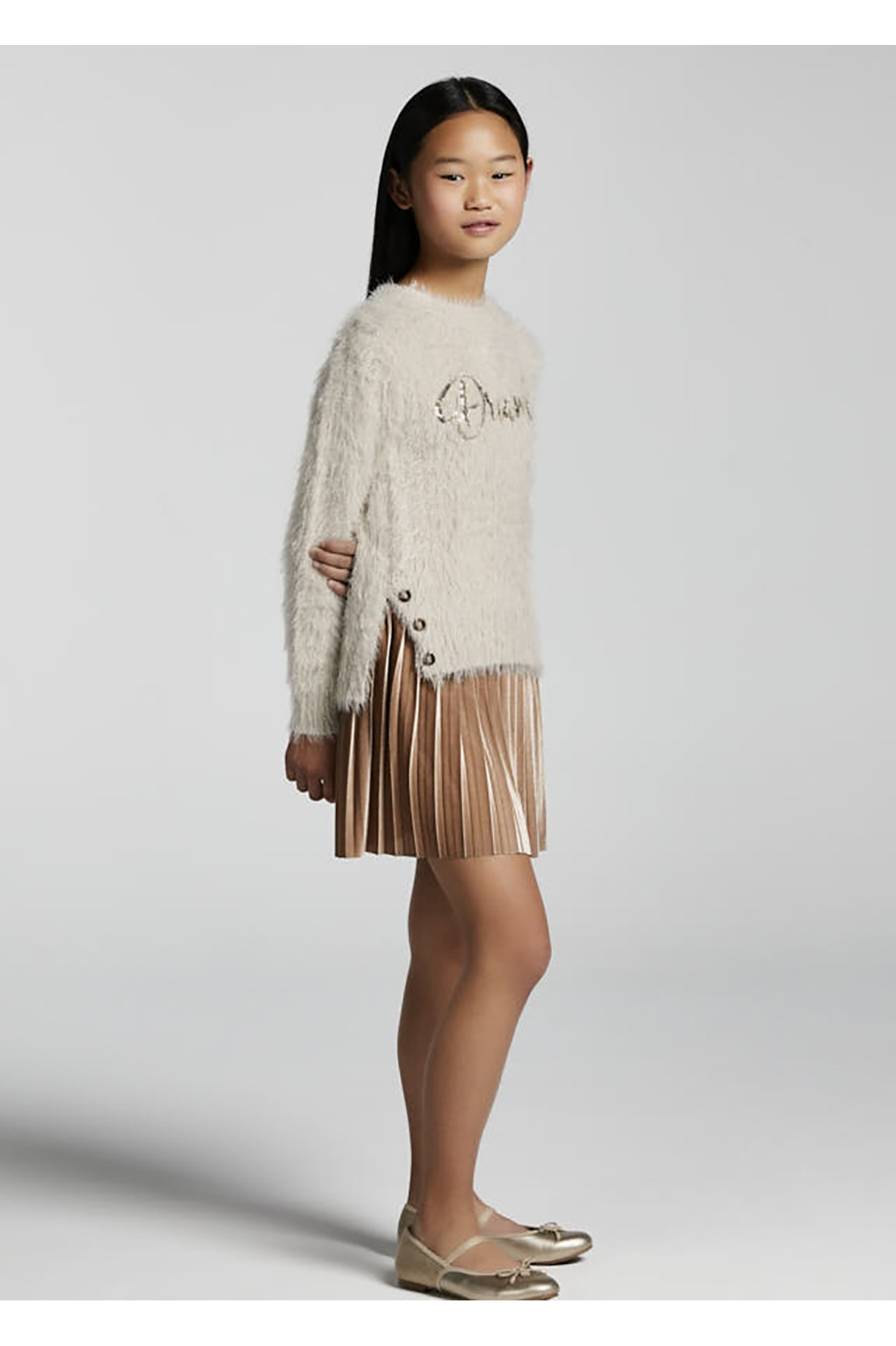 Komplet dziewczęcy - beżowa sukienka i sweter z nadrukiem