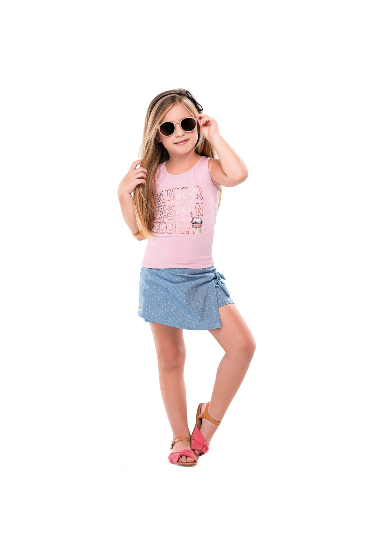 Zestaw ubrań dla dziewczynki koszulka i szorty