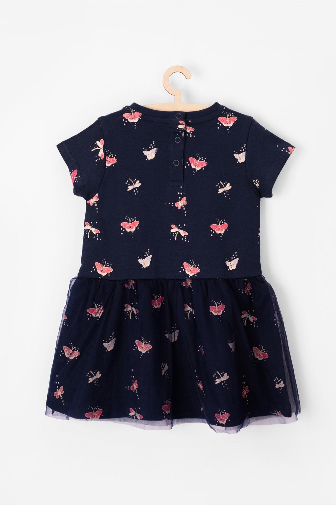 129c016f4a Sukienka dla niemowlaka w kolorowe kwiaty- miękka bawełniana dzianina.