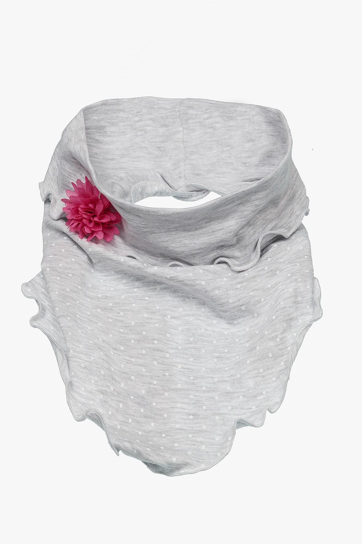 Chustka na głowę szara z różowym kwiatkiem