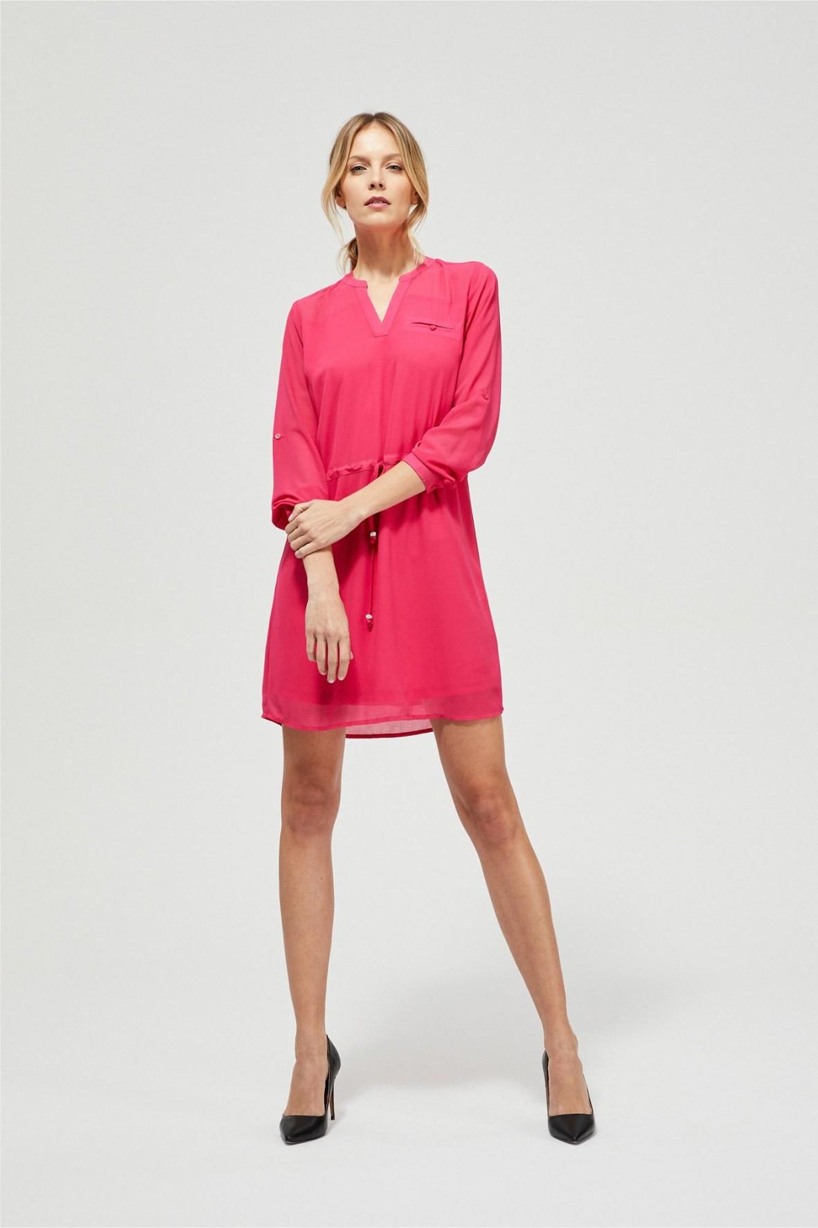 Koszulowa sukienka damska z wiązaniem w pasie