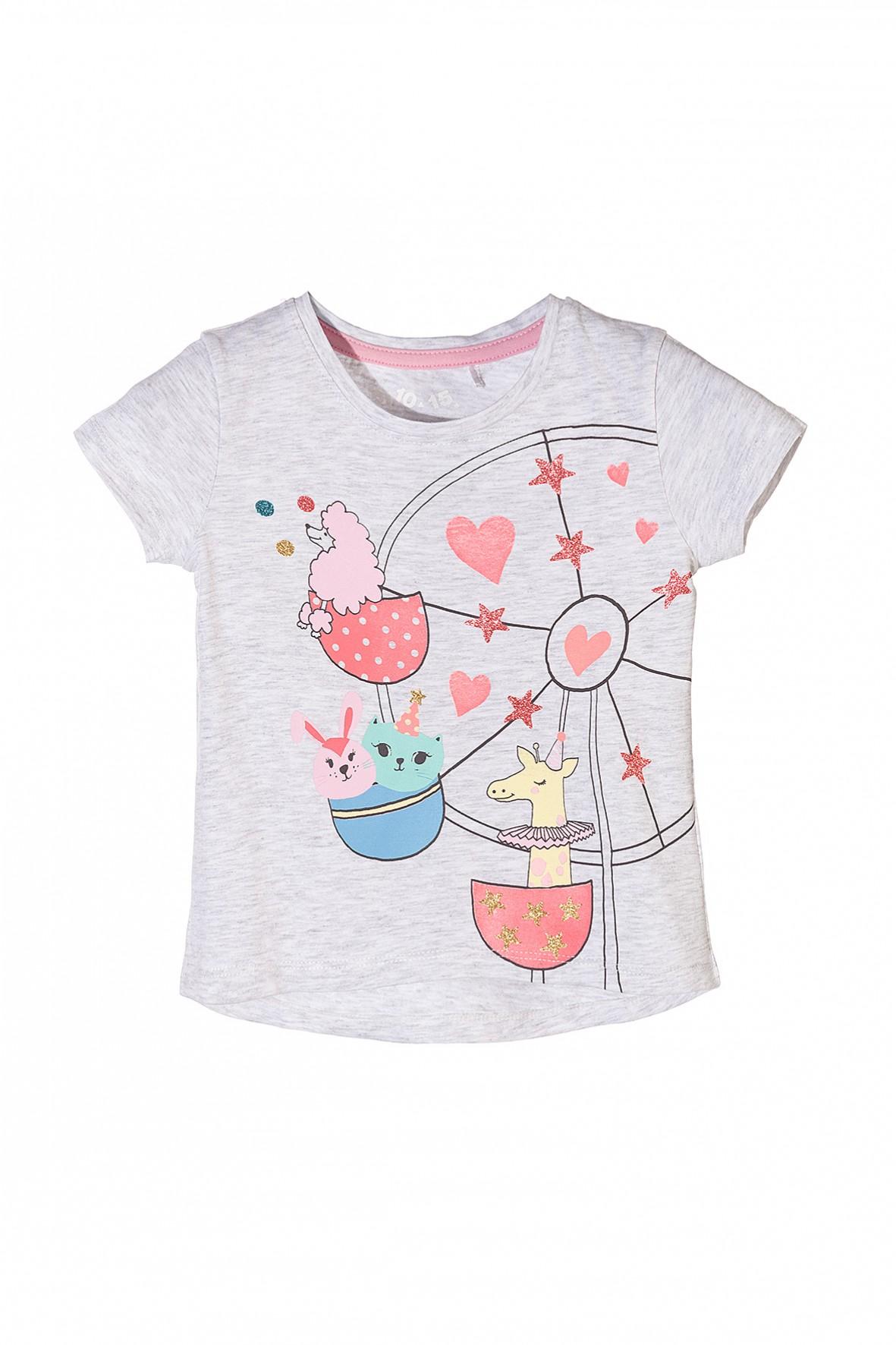 T-shirt dziewczęcy z kolorowymi nadrukami