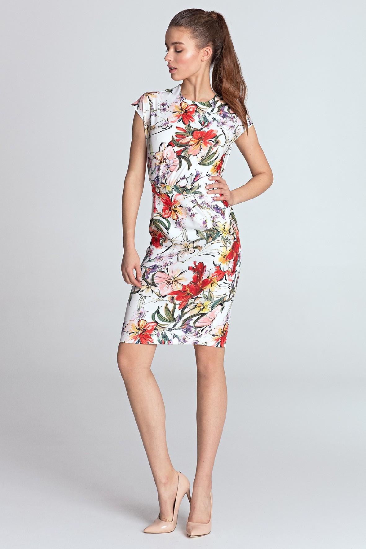 Letnia jasna sukienka damska w kwiaty
