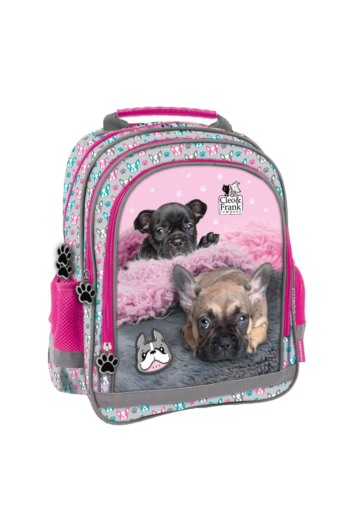 Plecak dziewczęcy z elementami odblaskowymi Cleo i Frank